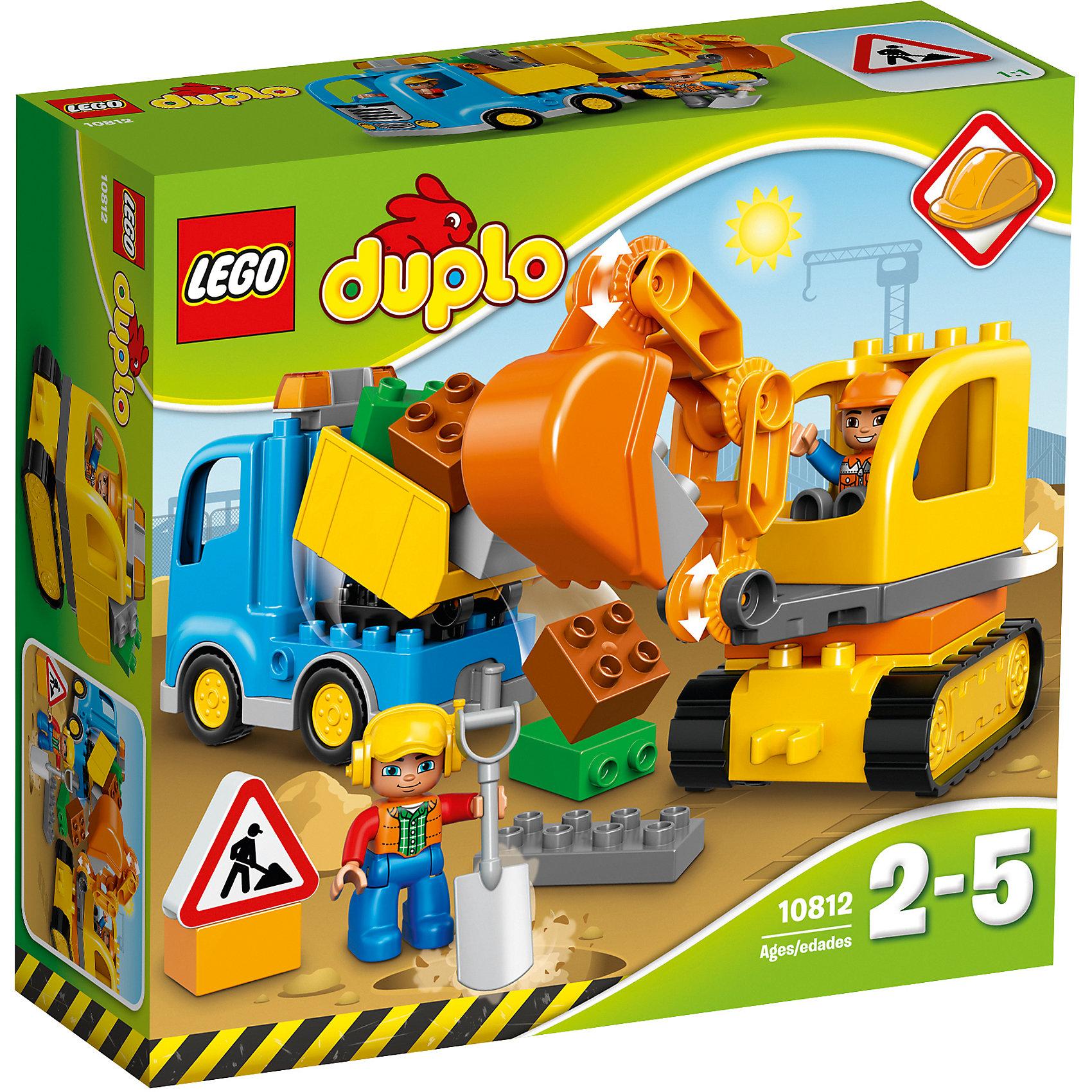 LEGO DUPLO 10812: Грузовик и гусеничный экскаваторПластмассовые конструкторы<br>Игрушки от LEGO DUPLO созданы специально для малышей. Разнообразную технику и  конструкторы обожает множество современных мальчишек, поэтому этот набор LEGO DUPLO обязательно порадует ребенка. Такие игрушки помогают детям развивать воображение, мелкую моторику, логику и творческое мышление.<br>Набор состоит из простых в сборке машин, крупных дополнительных деталей, фигурок человека! С таким комплектом можно придумать множество игр!<br><br>Дополнительная информация:<br><br>цвет: разноцветный;<br>размер коробки: 9 x 28 x 26 см;<br>вес: 200 г;<br>материал: пластик;<br>количество деталей: 26.<br><br>Набор Грузовик и гусеничный экскаватор от бренда LEGO DUPLO можно купить в нашем магазине.<br><br>Ширина мм: 285<br>Глубина мм: 261<br>Высота мм: 93<br>Вес г: 631<br>Возраст от месяцев: 24<br>Возраст до месяцев: 60<br>Пол: Мужской<br>Возраст: Детский<br>SKU: 4641259
