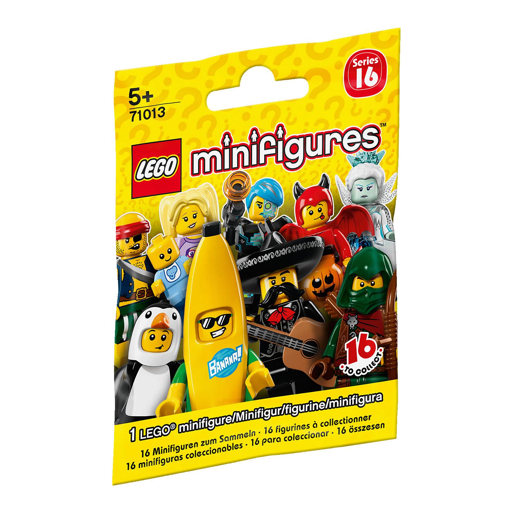 LEGO 71013: Минифигурки, серия 16Пластмассовые конструкторы<br>LEGO 71013: Минифигурки, серия 16.<br><br>Характеристики: <br><br>• Материал: высококачественный пластик.<br>• Количество в пакетике: 1 шт.<br><br>Вперед к новым  приключениям с новыми коллекционными минифигурками LEGO серии 16! Встречайте : Воина пустыни, Пингвинёнка, Королеву льда, Шпиона, Мальчика в костюме банана, Путешественника, Боксёра-чемпиона, Призрачного мальчика, Злодея, Киборга, Непослушного чертёнка, Победителя выставки собак, Пирата-бездельника, Няню, Фотографа дикой природы и Мариачи. Внутри каждого закрытого пакетика вы найдёте искусно изготовленную минифигурку с аксессуарами, демонстрационную пластинку, коллекционную брошюру.<br><br>ВНИМАНИЕ! Данный артикул представлен в разных вариантах исполнения. К сожалению, заранее выбрать определенный вариант невозможно. При заказе нескольких минифигурок возможно получение одинаковых.<br><br>LEGO 71013: Минифигурки, серия 16 – можно купить в нашем интернет – магазине.<br><br>Ширина мм: 115<br>Глубина мм: 86<br>Высота мм: 15<br>Вес г: 13<br>Возраст от месяцев: 60<br>Возраст до месяцев: 144<br>Пол: Унисекс<br>Возраст: Детский<br>SKU: 4641262