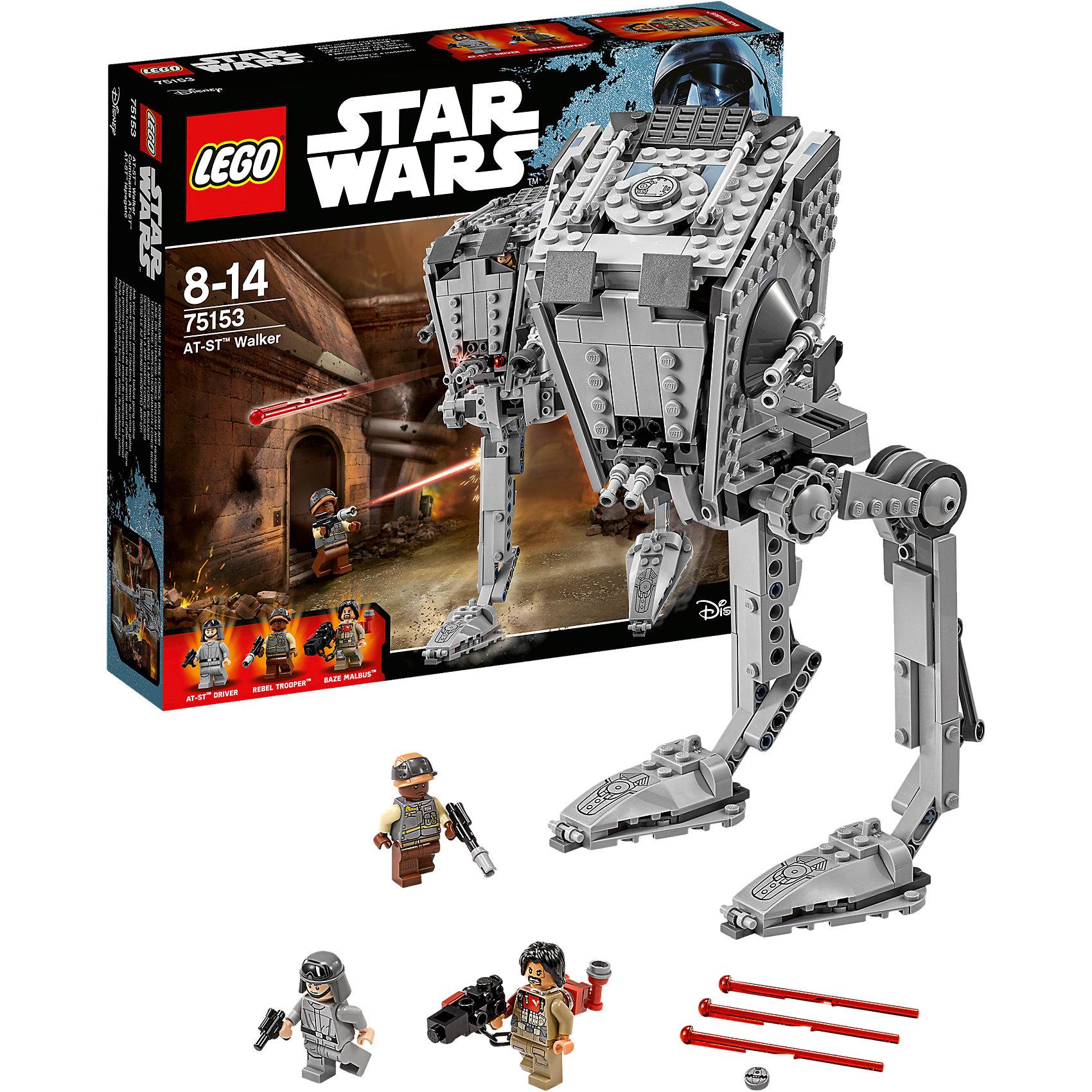 LEGO Star Wars 75153: Шагоход AT-STПластмассовые конструкторы<br>Играть с любимыми персонажами всегда интереснее! Фильм Звездные войны обожают современные дети. Подарите им возможность играть с героями из любимого фильма, воссоздавая боевые сцены из кино или придумывая свои! Эти фигурки подвижны, состоят из деталей, поэтому детям с ними играть очень интересно. <br>Одна игрушка - только часть большой коллекции LEGO Star Wars, поэтому детям будет интересно еще и коллекционировать разные фигурки и наборы. Такие игрушки помогают ребенку развивать мелкую моторику, воображение и творческое мышление! Материалы, использованные при изготовлении игрушек, полностью безопасны для детей и отвечают всем требованиям по качеству.<br><br>Дополнительная информация:<br><br>цвет: разноцветный;<br>материал: пластик;<br>деталей: 449, 3 фигурки.<br><br>LEGO Star Wars 75153: Шагоход AT-ST можно приобрести в нашем магазине.<br><br>Ширина мм: 283<br>Глубина мм: 261<br>Высота мм: 60<br>Вес г: 610<br>Возраст от месяцев: 96<br>Возраст до месяцев: 168<br>Пол: Мужской<br>Возраст: Детский<br>SKU: 4641272