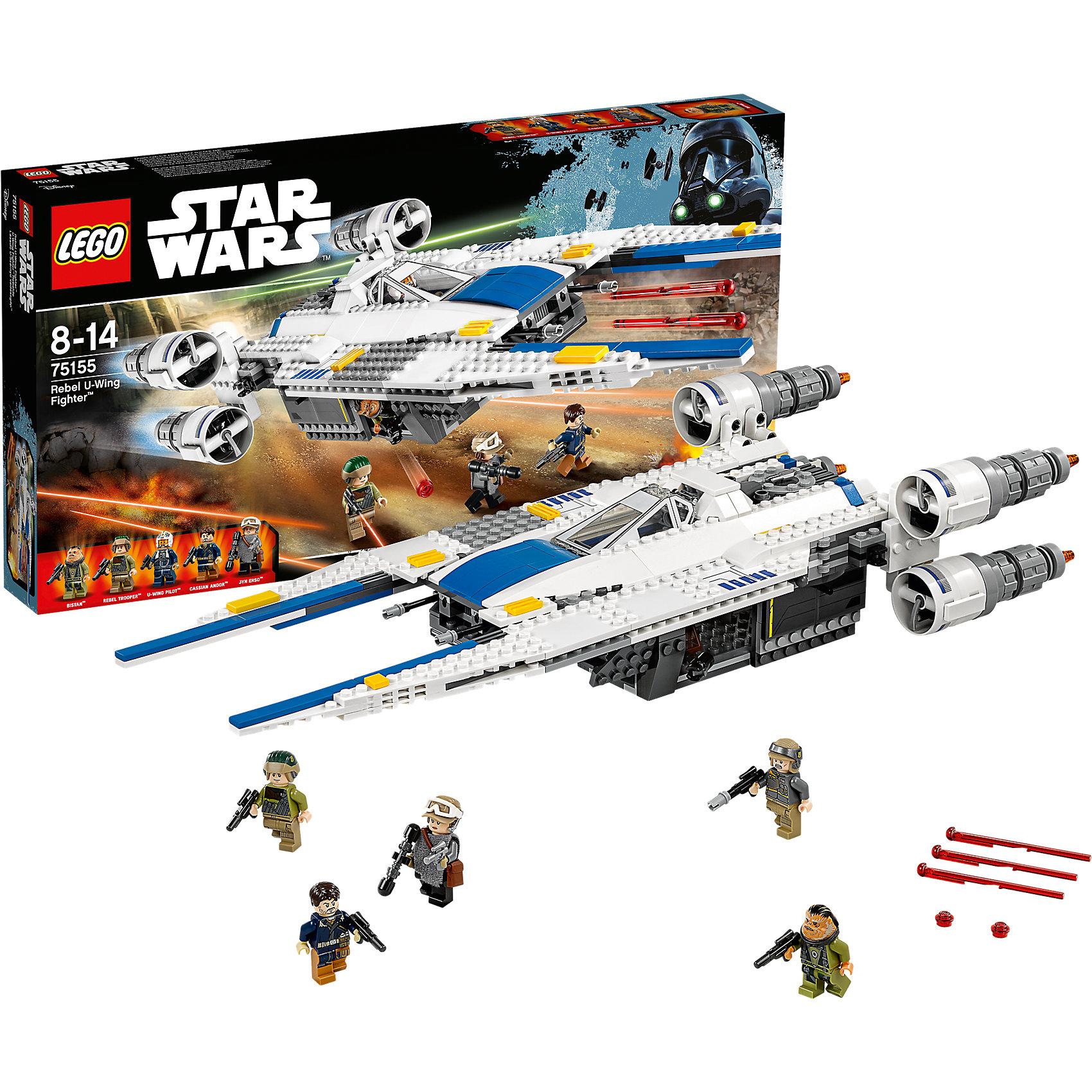 LEGO Star Wars 75155: Истребитель U-Wing ПовстанцевПластмассовые конструкторы<br>Играть с любимыми персонажами всегда интереснее! Фильм Звездные войны обожают современные дети. Подарите им возможность играть с героями из любимого фильма, воссоздавая боевые сцены из кино или придумывая свои! Эти фигурки подвижны, состоят из деталей, поэтому детям с ними играть очень интересно. <br>Одна игрушка - только часть большой коллекции LEGO Star Wars, поэтому детям будет интересно еще и коллекционировать разные фигурки и наборы. Такие игрушки помогают ребенку развивать мелкую моторику, воображение и творческое мышление! Материалы, использованные при изготовлении игрушек, полностью безопасны для детей и отвечают всем требованиям по качеству.<br><br>Дополнительная информация:<br><br>цвет: разноцветный;<br>материал: пластик;<br>деталей: 659, 5 фигурок.<br><br>LEGO Star Wars 75155: Истребитель U-Wing можно приобрести в нашем магазине.<br><br>Ширина мм: 541<br>Глубина мм: 279<br>Высота мм: 62<br>Вес г: 1164<br>Возраст от месяцев: 96<br>Возраст до месяцев: 168<br>Пол: Мужской<br>Возраст: Детский<br>SKU: 4641274