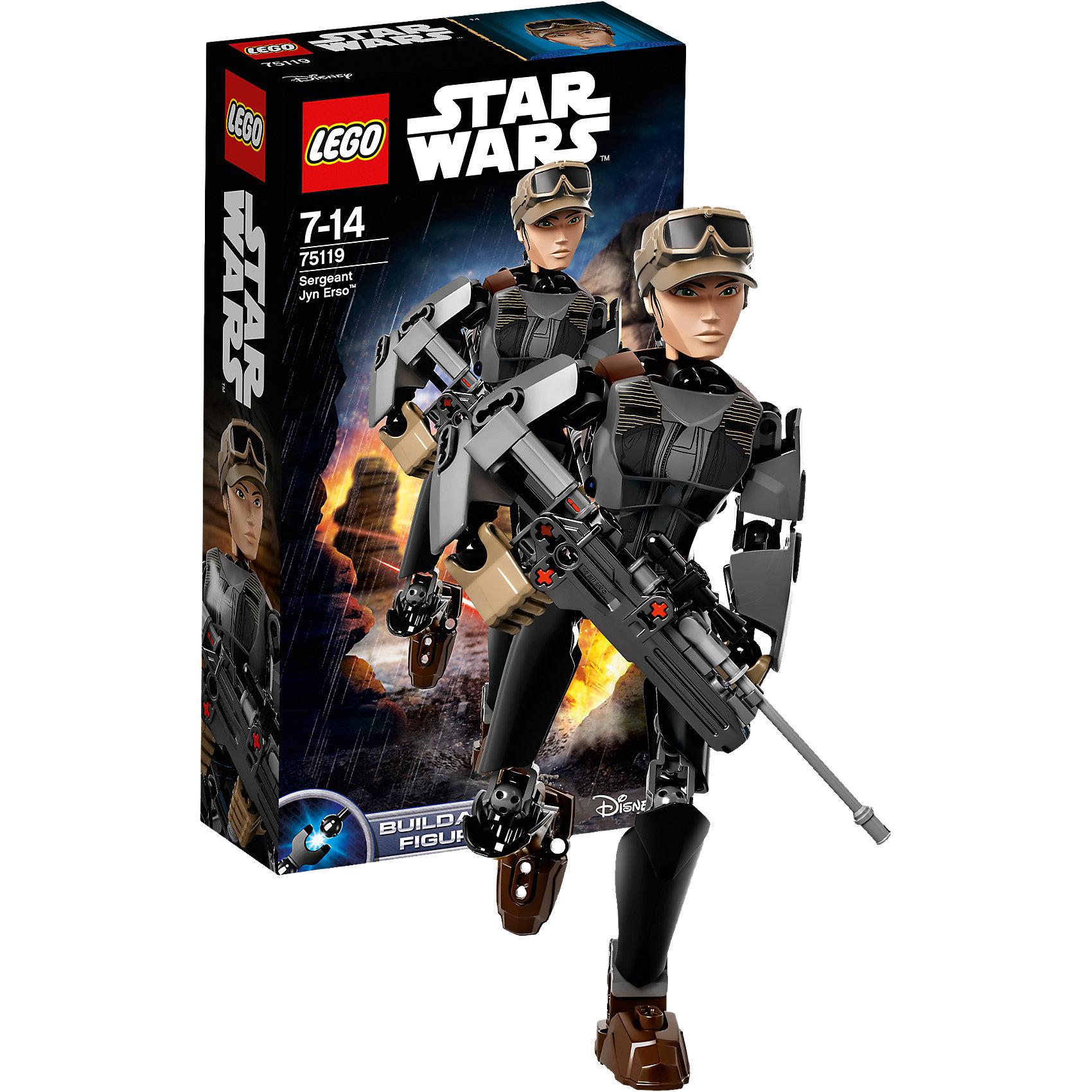 LEGO Star Wars 75119: Сержант Джин ЭрсоПластмассовые конструкторы<br>Фильм Звездные войны обожают современные дети. Подарите им возможность играть с героями из любимого фильма, воссоздавая боевые сцены из кино или придумывая свои! Эти фигурки подвижны, состоят из деталей, поэтому детям с ними играть очень интересно. <br>Одна игрушка - только часть большой коллекции LEGO Star Wars, поэтому детям будет интересно еще и коллекционировать разные фигурки и наборы. Такие игрушки помогают ребенку развивать мелкую моторику, воображение и творческое мышление! Материалы, использованные при изготовлении игрушек, полностью безопасны для детей и отвечают всем требованиям по качеству.<br><br>Дополнительная информация:<br><br>цвет: разноцветный;<br>материал: пластик;<br>деталей: 104;<br>высота игрушки: 24 см.<br><br>LEGO Star Wars 75119: Сержант Джин Эрсо можно приобрести в нашем магазине.<br><br>Ширина мм: 265<br>Глубина мм: 142<br>Высота мм: 66<br>Вес г: 239<br>Возраст от месяцев: 84<br>Возраст до месяцев: 168<br>Пол: Мужской<br>Возраст: Детский<br>SKU: 4641276