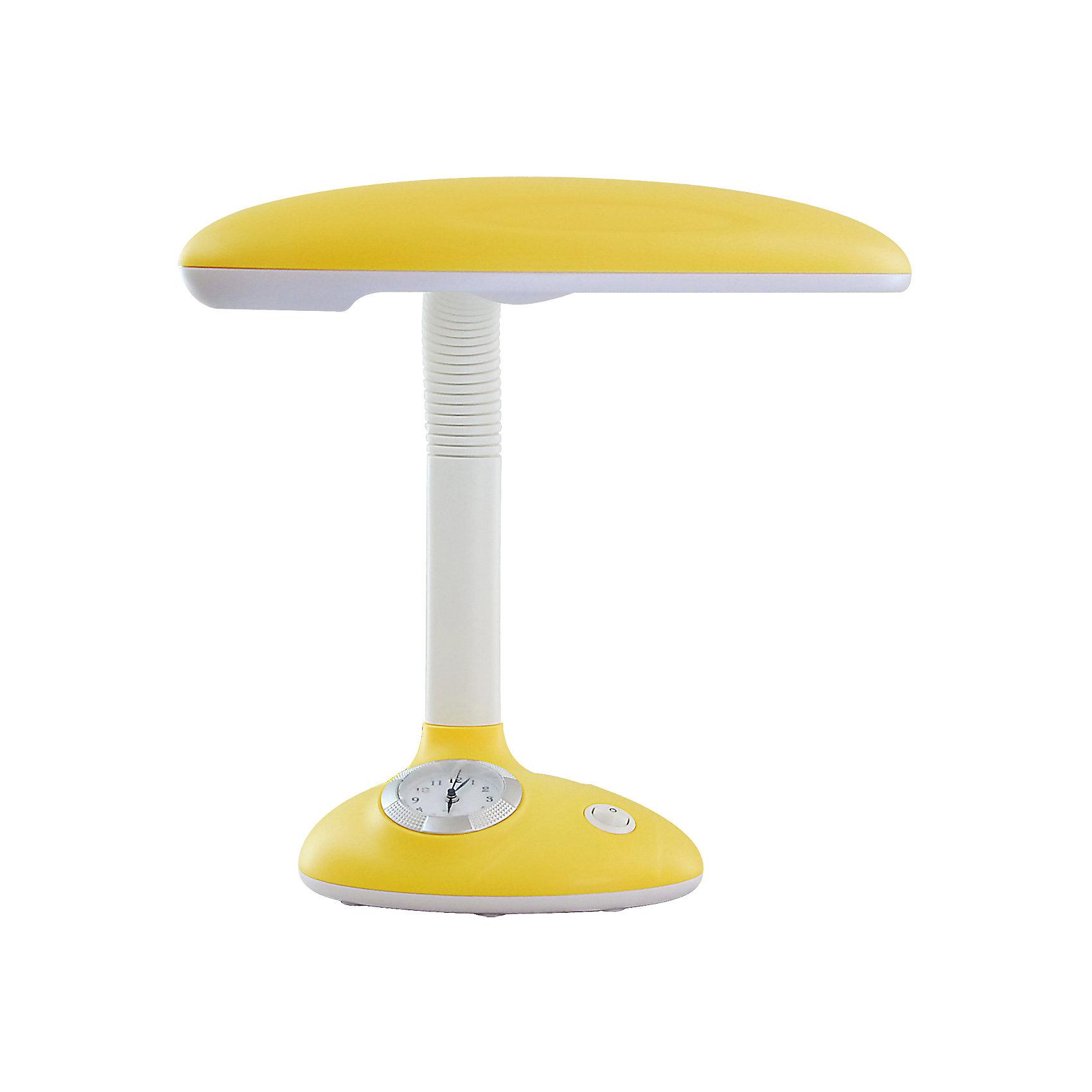 Светильник-часы, 11 Вт, Ultra Light, желтыйДетские предметы интерьера<br>Жёлтый светильник-часы, 11 Вт - светильник прекрасно подойдет для освещения рабочего стола и создания атмосферы уюта в комнате.<br>Симпатичный светильник-часы предназначен для работы и отдыха и станет ярким элементом интерьера детской комнаты. Корпус светильника выполнен из термостойкого пластика. Дуга, соединяющая лампу с основанием, вращается в разные стороны, благодаря чему лампа может осветить любое место в комнате. В основании светильника расположены часы, которые помогут вашему ребенку быстро и легко научиться определять время. Для установки времени необходимо извлечь часы из корпуса основания светильника по направлению вверх, удалить защитную плёнку из-под элемента питания (входит в комплект), установить время, вставить часы в корпус основания светильника. Светильник укомплектован люминесцентной лампой мощностью 11 Вт, сила светового потока которой подобрана оптимально для детского зрения.<br><br>Дополнительная информация: <br><br>- Материал корпуса: термостойкий пластик<br>- Цвет: желтый<br>- Питание: от сети 220В<br>- Тип цоколя: 2G7<br>- Мощность лампы: 11 Вт<br>- Размер светильника: 22х35х18 см.<br>- Размер упаковки: 28,5х18,5х25 см.<br>- Вес: 1400 гр.<br><br>Жёлтый светильник-часы, 11 Вт можно купить в нашем интернет-магазине.<br><br>Ширина мм: 285<br>Глубина мм: 185<br>Высота мм: 250<br>Вес г: 1400<br>Возраст от месяцев: 36<br>Возраст до месяцев: 192<br>Пол: Унисекс<br>Возраст: Детский<br>SKU: 4641461