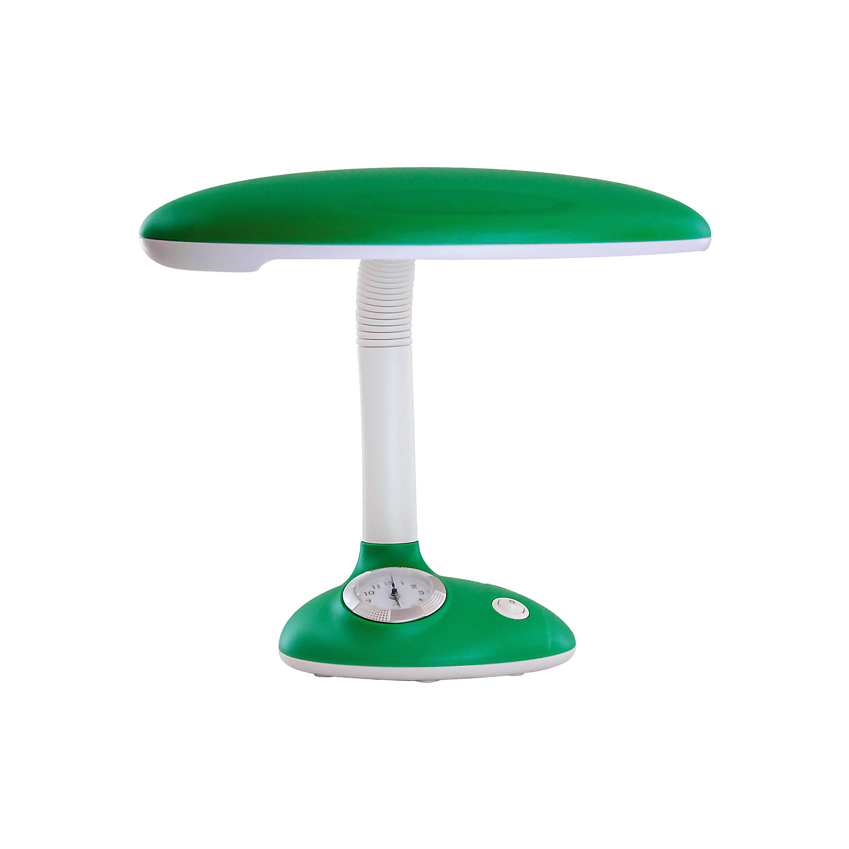 Светильник-часы, 11 Вт, Ultra Light, зеленыйЛампы, ночники, фонарики<br>Зелёный светильник-часы, 11 Вт - светильник прекрасно подойдет для освещения рабочего стола и создания атмосферы уюта в комнате.<br>Симпатичный светильник-часы предназначен для работы и отдыха и станет ярким элементом интерьера детской комнаты. Корпус светильника выполнен из термостойкого пластика. Дуга, соединяющая лампу с основанием, вращается в разные стороны, благодаря чему лампа может осветить любое место в комнате. В основании светильника расположены часы, которые помогут вашему ребенку быстро и легко научиться определять время. Для установки времени необходимо извлечь часы из корпуса основания светильника по направлению вверх, удалить защитную плёнку из-под элемента питания (входит в комплект), установить время, вставить часы в корпус основания светильника. Светильник укомплектован люминесцентной лампой мощностью 11 Вт, сила светового потока которой подобрана оптимально для детского зрения.<br><br>Дополнительная информация: <br><br>- Материал корпуса: термостойкий пластик<br>- Цвет: зеленый<br>- Питание: от сети 220В<br>- Тип цоколя: 2G7<br>- Мощность лампы: 11 Вт<br>- Размер светильника: 22х35х18 см.<br>- Размер упаковки: 28,5х18,5х25 см.<br>- Вес: 1400 гр.<br><br>Зелёный светильник-часы, 11 Вт можно купить в нашем интернет-магазине.<br><br>Ширина мм: 285<br>Глубина мм: 185<br>Высота мм: 250<br>Вес г: 1400<br>Возраст от месяцев: 36<br>Возраст до месяцев: 192<br>Пол: Унисекс<br>Возраст: Детский<br>SKU: 4641462