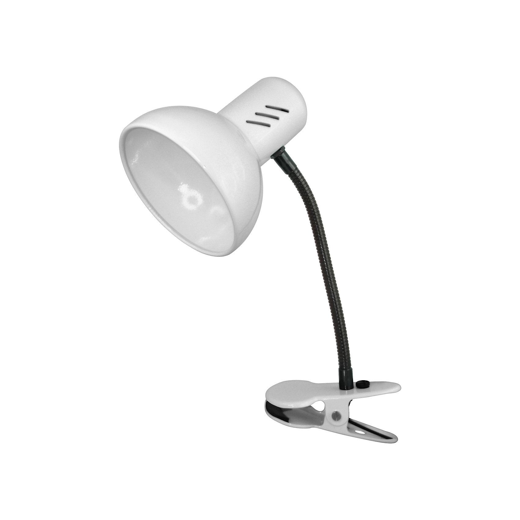 Белый светильник, 40 ВтБелый светильник, 40 Вт – это классический светильник для освещения рабочего стола.<br>Белый светильник классического дизайна идеально подойдет для освещения рабочего места дома и в офисе. Светильник крепиться с помощью зажима-прищепки. Плафон изготовлен из облегчённого металла, покрыт специальной устойчивой эмалью. Патрон светильника прочно закреплён, изготовлен из керамики. Сетевой шнур с вилкой длиной 1,8м. имеет двойную изоляцию, не требует заземления. Вилка изготовлена из пластичного материала, предотвращающего появление трещин. Светильник удобен и практичен в использовании.<br><br>Дополнительная информация: <br><br>- Материал плафона: металл<br>- Цвет: белый<br>- Питание: от сети 220В<br>- Тип цоколя: E27<br>- Мощность лампы: 40 Вт<br>- Длина шнура питания с вилкой: 1,8 м.<br>- Размер светильника: 17х22,5х12,5 см.<br>- Размер упаковки: 24х16х14 см.<br>- Вес: 642 гр.<br><br>Белый светильник, 40 Вт можно купить в нашем интернет-магазине.<br><br>Ширина мм: 240<br>Глубина мм: 160<br>Высота мм: 140<br>Вес г: 642<br>Возраст от месяцев: 36<br>Возраст до месяцев: 192<br>Пол: Унисекс<br>Возраст: Детский<br>SKU: 4641470