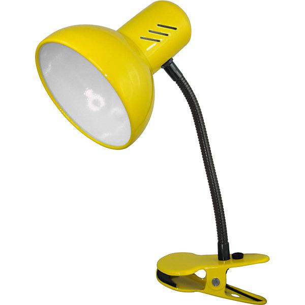 Настольный светильник Прищепка 40Вт ЛН, Ultra Light, желтыйДетские предметы интерьера<br>Жёлтый светильник, 40 Вт – это классический светильник для освещения рабочего стола.<br>Жёлтый светильник классического дизайна идеально подойдет для освещения рабочего места дома и в офисе. Светильник крепиться с помощью зажима-прищепки. Плафон изготовлен из облегчённого металла, покрыт специальной устойчивой эмалью. Патрон светильника прочно закреплён, изготовлен из керамики. Сетевой шнур с вилкой длиной 1,8м. имеет двойную изоляцию, не требует заземления. Вилка изготовлена из пластичного материала, предотвращающего появление трещин. Светильник удобен и практичен в использовании.<br><br>Дополнительная информация: <br><br>- Материал плафона: металл<br>- Цвет: жёлтый<br>- Питание: от сети 220В<br>- Тип цоколя: E27<br>- Мощность лампы: 40 Вт<br>- Длина шнура питания с вилкой: 1,8 м.<br>- Размер светильника: 17х22,5х12,5 см.<br>- Размер упаковки: 24х16х14 см.<br>- Вес: 642 гр.<br><br>Жёлтый светильник, 40 Вт можно купить в нашем интернет-магазине.<br>Ширина мм: 240; Глубина мм: 160; Высота мм: 140; Вес г: 642; Возраст от месяцев: 36; Возраст до месяцев: 192; Пол: Унисекс; Возраст: Детский; SKU: 4641471;