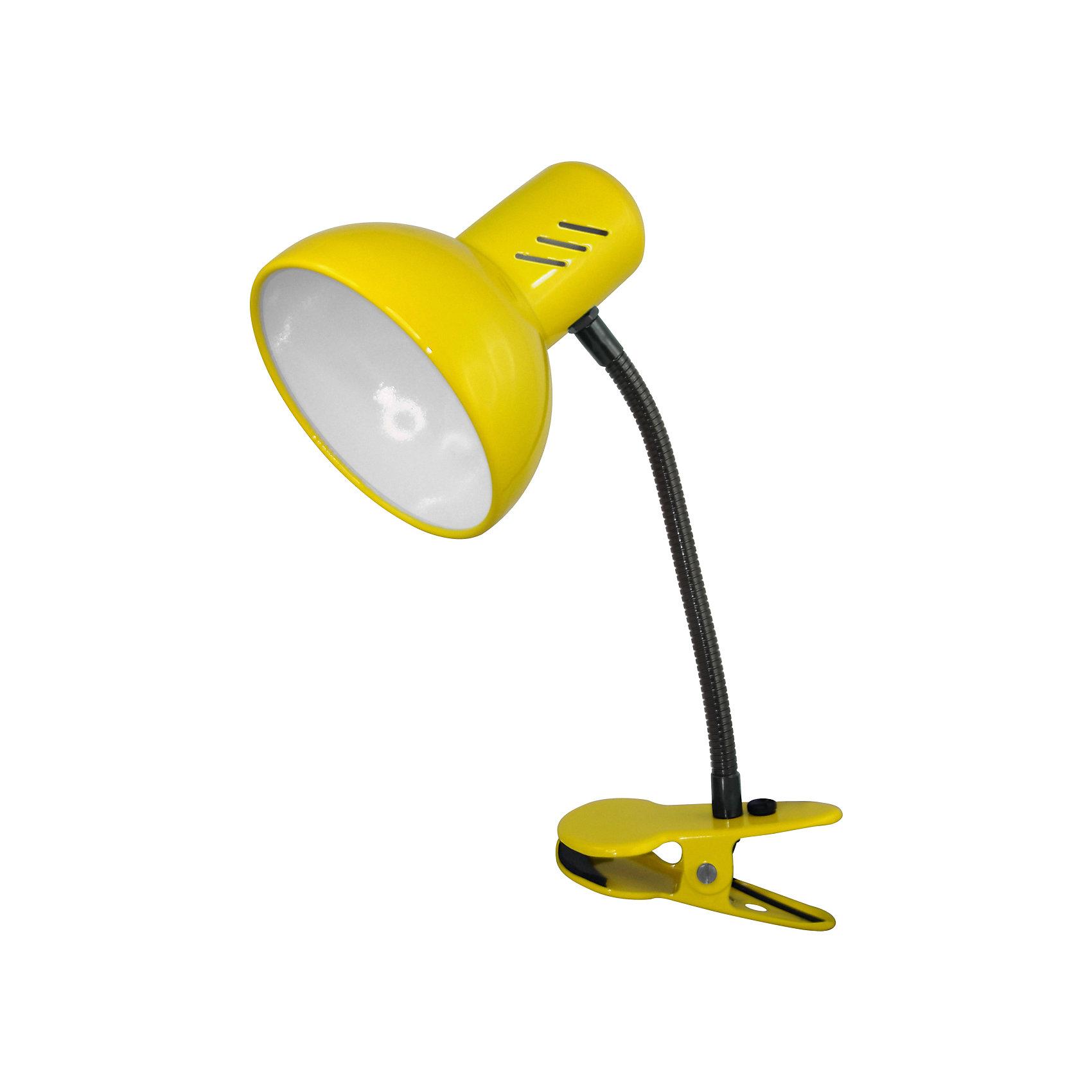 Настольный светильник Прищепка 40Вт ЛН, Ultra Light, желтыйЖёлтый светильник, 40 Вт – это классический светильник для освещения рабочего стола.<br>Жёлтый светильник классического дизайна идеально подойдет для освещения рабочего места дома и в офисе. Светильник крепиться с помощью зажима-прищепки. Плафон изготовлен из облегчённого металла, покрыт специальной устойчивой эмалью. Патрон светильника прочно закреплён, изготовлен из керамики. Сетевой шнур с вилкой длиной 1,8м. имеет двойную изоляцию, не требует заземления. Вилка изготовлена из пластичного материала, предотвращающего появление трещин. Светильник удобен и практичен в использовании.<br><br>Дополнительная информация: <br><br>- Материал плафона: металл<br>- Цвет: жёлтый<br>- Питание: от сети 220В<br>- Тип цоколя: E27<br>- Мощность лампы: 40 Вт<br>- Длина шнура питания с вилкой: 1,8 м.<br>- Размер светильника: 17х22,5х12,5 см.<br>- Размер упаковки: 24х16х14 см.<br>- Вес: 642 гр.<br><br>Жёлтый светильник, 40 Вт можно купить в нашем интернет-магазине.<br><br>Ширина мм: 240<br>Глубина мм: 160<br>Высота мм: 140<br>Вес г: 642<br>Возраст от месяцев: 36<br>Возраст до месяцев: 192<br>Пол: Унисекс<br>Возраст: Детский<br>SKU: 4641471