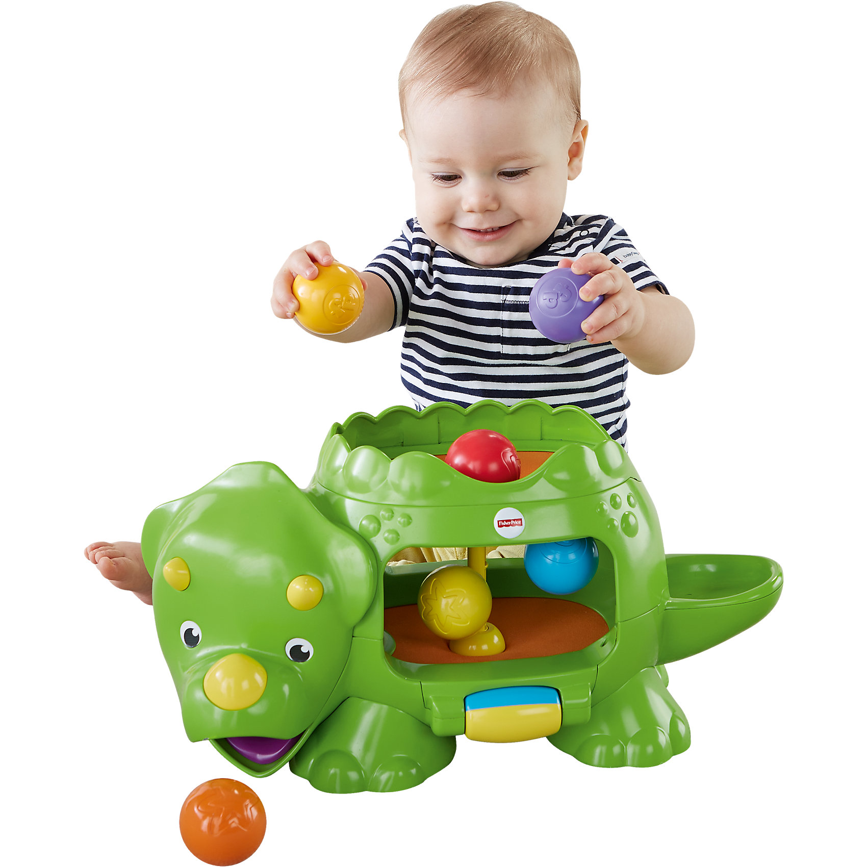 Динозавр с  шариками, Fisher PriceИнтерактивные игрушки для малышей<br>Динозавр с  шариками от популярного американского бренда Fisher Price (Фишер Прайс). Этот яркий большой динозавр увлечет кроху своей необычной игрой. Положив шарики в живот динозавра, ребенку нужно покрутить цветной ролик, активируя прыгающий внутри механизм и заставляя шарики невысоко подскакивать и появляться то в хвосте динозавра, то во рту. Шесть ярких шариков входят в комплект и помогут малышу учить цвета. Динозавр поможет развить моторику рук и принесет много радости своими забавными шариками, ведь за ними так весело наблюдать! <br>Дополнительная информация:<br><br>- В набор входит: динозавр, 6 шариков<br>- Состав: пластик<br>- Элементы питания: 3 батареи типа С  LR14 1.5V ( нет в наборе)<br>- Размер: 44 * 24 * 19<br><br><br>Динозавра с  шариками, Fisher Price (Фишер Прайс) можно купить в нашем интернет-магазине.<br><br>Ширина мм: 531<br>Глубина мм: 327<br>Высота мм: 137<br>Вес г: 1705<br>Возраст от месяцев: 6<br>Возраст до месяцев: 24<br>Пол: Мужской<br>Возраст: Детский<br>SKU: 4641707