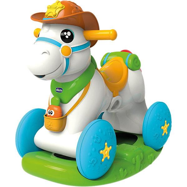 Лошадка-каталка Baby Rodeo, ChiccoМашинки-каталки<br>Лошадка-каталка Baby Rodeo, Chicco<br><br>Характеристики:<br><br>- в набор входит: лошадка-каталка, элементы питания<br>- состав: пластик<br>- размер лошадки-каталки: 64 * 30 * 58 см.<br>- функции: световые и звуковые эффекты<br>- элементы питания: на батарейках (3шт. АА)<br>- для детей в возрасте: от 1 до 2 лет <br>- Страна производитель: Китай<br><br>Новая Лошадка-каталка Baby Rodeo (Бейби Родео) от известного итальянского бренда товаров для детей Chicco (Чико) придет по вкусу малышам. Интерактивная лошадка открывает и закрывает глазки, кушает морковку и разговаривает. Морковка для кормления входит в набор, при поднесении ко рту лошадки активируется сигнал и лошадка будет радостно ржать. На лошадке с подставкой можно кататься как на классической каталке, у лошадки две удобные для детских пальчиков ручки по бокам. Колеса и подставка отдекорированы рельефными узорами, которые понравится трогать. <br><br>Благодаря колесам и съемной подставке на лошадке можно весело кататься по дому и отправиться на поиски приключений. Лошадка изготовлена из высококачественного пластика и может выдерживать вес до 25 кг. Развивайтесь вместе с лошадкой, отдавая ей тепло и заботу! Играя с лошадкой малыш сможет развивать тактильное, звуковое и цветовое восприятие, сможет развивать память, моторику и воображение.<br><br>Лошадку-каталку Baby Rodeo, Chicco можно купить в нашем интернет-магазине.<br>Ширина мм: 607; Глубина мм: 501; Высота мм: 434; Вес г: 6524; Возраст от месяцев: 12; Возраст до месяцев: 24; Пол: Унисекс; Возраст: Детский; SKU: 4642243;