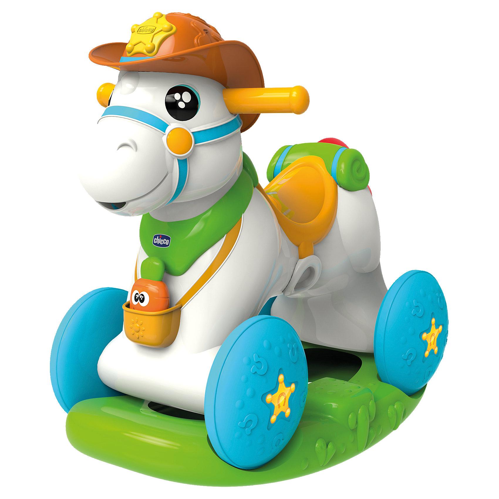 Лошадка-каталка Baby Rodeo, ChiccoМашинки-каталки<br>Лошадка-каталка Baby Rodeo, Chicco<br><br>Характеристики:<br><br>- в набор входит: лошадка-каталка, элементы питания<br>- состав: пластик<br>- размер лошадки-каталки: 64 * 30 * 58 см.<br>- функции: световые и звуковые эффекты<br>- элементы питания: на батарейках (3шт. АА)<br>- для детей в возрасте: от 1 до 2 лет <br>- Страна производитель: Китай<br><br>Новая Лошадка-каталка Baby Rodeo (Бейби Родео) от известного итальянского бренда товаров для детей Chicco (Чико) придет по вкусу малышам. Интерактивная лошадка открывает и закрывает глазки, кушает морковку и разговаривает. Морковка для кормления входит в набор, при поднесении ко рту лошадки активируется сигнал и лошадка будет радостно ржать. На лошадке с подставкой можно кататься как на классической каталке, у лошадки две удобные для детских пальчиков ручки по бокам. Колеса и подставка отдекорированы рельефными узорами, которые понравится трогать. <br><br>Благодаря колесам и съемной подставке на лошадке можно весело кататься по дому и отправиться на поиски приключений. Лошадка изготовлена из высококачественного пластика и может выдерживать вес до 25 кг. Развивайтесь вместе с лошадкой, отдавая ей тепло и заботу! Играя с лошадкой малыш сможет развивать тактильное, звуковое и цветовое восприятие, сможет развивать память, моторику и воображение.<br><br>Лошадку-каталку Baby Rodeo, Chicco можно купить в нашем интернет-магазине.<br><br>Ширина мм: 607<br>Глубина мм: 501<br>Высота мм: 434<br>Вес г: 6524<br>Возраст от месяцев: 12<br>Возраст до месяцев: 24<br>Пол: Унисекс<br>Возраст: Детский<br>SKU: 4642243