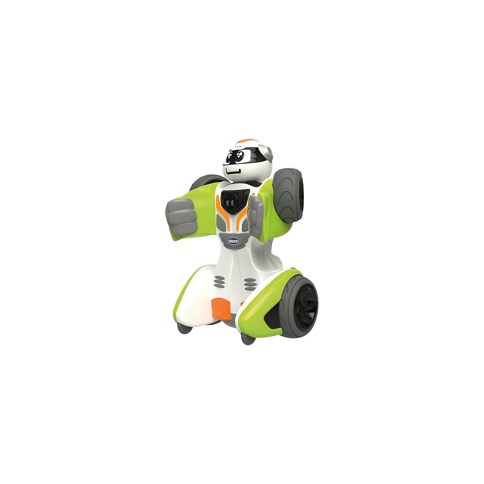 Трансформер RoboChicco, ChiccoИнтерактивные игрушки для малышей<br>Характеристики товара:<br><br>• возраст от 2 лет;<br>• материал: пластик;<br>• в комплекте: машинка, пульт;<br>• пульт работает от 3 батареек ААА, машинка от 4 батареек АА (батарейки в комплект не входят);<br>• размер игрушки 23х17х12 см;<br>• размер упаковки 30х29х17,8 см;<br>• вес упаковки 1,8 кг;<br>• страна производитель: Китай. <br><br>Трансформер «RoboChicco» Chicco — необычная игрушка, которая трансформируется из обычной машинки в могущественного робота. Трансформация осуществляется при помощи простых движений, а в процессе у малыша развиваются мелкая моторика рук и логическое мышление. Игрушка управляется пультом управления, при помощи которого активируются звуковые и световые эффекты, движения автомобиля. Игрушка выполнена из качественного безопасного материала.<br><br>Трансформер «RoboChicco» Chicco можно приобрести в нашем интернет-магазине.<br><br>Ширина мм: 343<br>Глубина мм: 307<br>Высота мм: 190<br>Вес г: 1460<br>Возраст от месяцев: 24<br>Возраст до месяцев: 60<br>Пол: Мужской<br>Возраст: Детский<br>SKU: 4642245