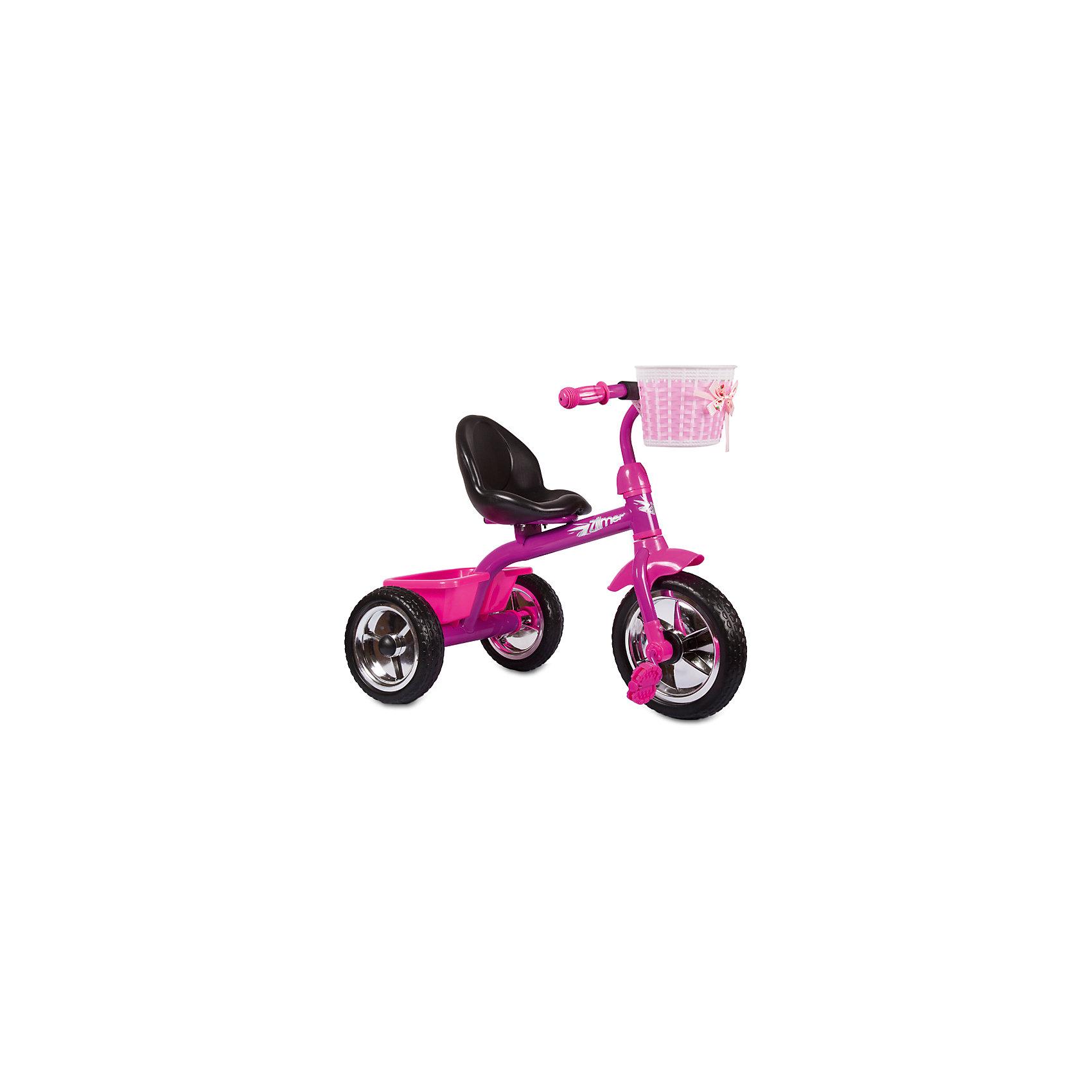 Трехколесный велосипед Сильвер Люкс, розовый, ZilmerВелосипеды детские<br>Велосипед Zilmer Сильвер Люкс (3 колеса EVA 10/8, сталь, спинка, 2 корзины, розов.)        Трёхколёсный велосипед Zilmer!<br>Основные особенности данной модели: колёса EVA, удобное сиденье, две вместительные корзинки. Руль оснащён мягкой накладкой.<br>В корзинку можно сложить необходимые для прогулки вещи. Велосипед сделан из надёжных и безопасных материалов. Яркий цвет  и привлекательный внешний вид обращают на себя внимание.<br>Преимущества:<br>Удобный руль с мягкой накладкой<br>Две корзинки<br>Яркий цвет<br>Вес 1 шт.: 3 кг<br><br>Ширина мм: 300<br>Глубина мм: 225<br>Высота мм: 200<br>Вес г: 4250<br>Возраст от месяцев: 12<br>Возраст до месяцев: 36<br>Пол: Унисекс<br>Возраст: Детский<br>SKU: 4642328