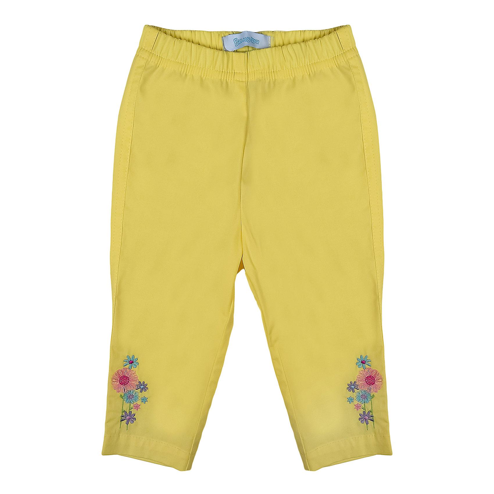 Брюки для девочки БимошаОднотонные зауженные брюки украшены вышивкой, пояс на резинке. Состав: Поплин 97% хлопок, 3% эластан<br><br>Ширина мм: 215<br>Глубина мм: 88<br>Высота мм: 191<br>Вес г: 336<br>Цвет: желтый<br>Возраст от месяцев: 18<br>Возраст до месяцев: 24<br>Пол: Женский<br>Возраст: Детский<br>Размер: 92,86,80,68,74<br>SKU: 4645360
