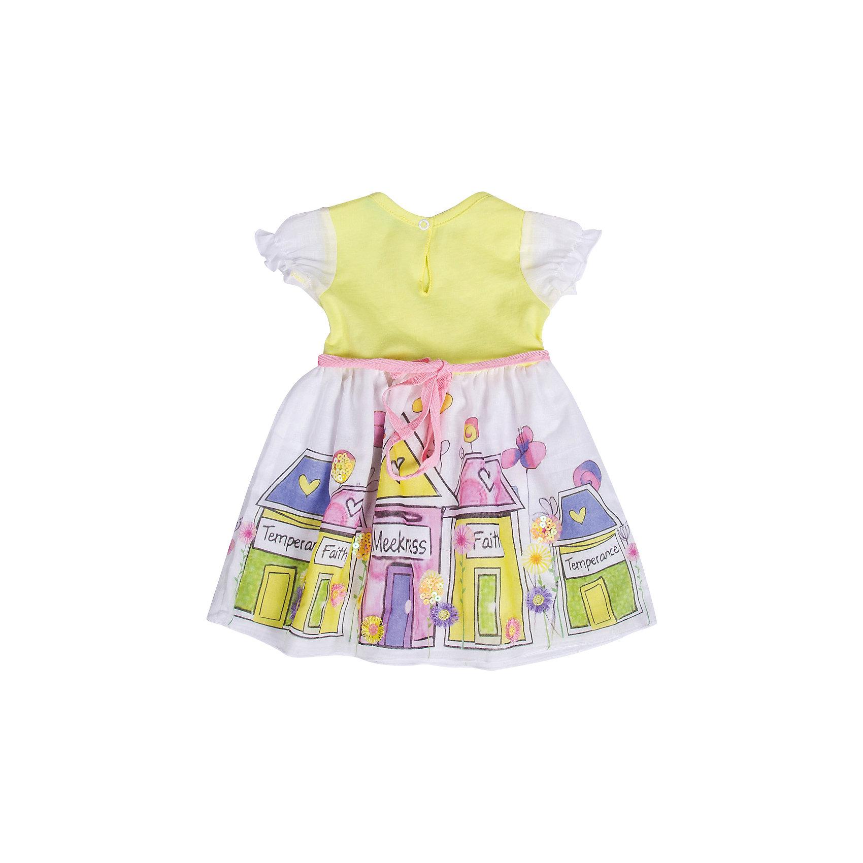 Платье БимошаПлатья<br>Платье дополнено оригинальной печатью и пайетками, сзади застежка-кнопка, рукава-крылышки. Состав: Кулирная гладь 100% хлопок<br><br>Ширина мм: 236<br>Глубина мм: 16<br>Высота мм: 184<br>Вес г: 177<br>Цвет: желтый<br>Возраст от месяцев: 3<br>Возраст до месяцев: 6<br>Пол: Женский<br>Возраст: Детский<br>Размер: 68,74,80<br>SKU: 4645429