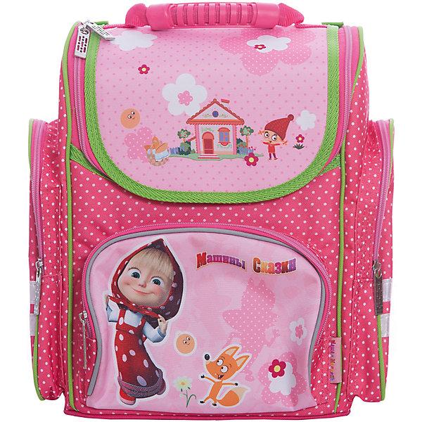 Ортопедический средний рюкзак Фантазия, Маша и МедведьРанцы<br>Ортопедический средний рюкзак «Маша и Медведь» идеален для учебы в школе. Он имеет одно основное отделение на молнии, подходящее для формата А4, с двумя отсеками для тетрадей и прозрачным кармашком для личной карточки. Спереди находится карман на молнии, вмещающий пенал, а по бокам – два кармана на молнии высотой 24 см. Удобная ортопедическая спинка, созданная по специальной технологии из дышащего плотного и мягкого поролона, равномерно распределяет нагрузку на позвоночник. Мягкие анатомические регулируемые лямки оберегают плечи ребенка от натирания. Светоотражающие элементы, расположенные на лямках и лицевом кармане, повышают безопасность ребенка на дороге в темное время суток. Пластиковая ручка удобна для переноски рюкзака в руке или размещения на вешалке. <br>Аксессуар декорирован модным принтом (сублимированной печатью). <br><br>Дополнительная информация:<br><br>Размер: 31х29х15 см.<br>Вес: 820 г.<br><br>Ортопедический средний рюкзак Фантазия, Маша и Медведь можно купить в нашем магазине.<br>Ширина мм: 350; Глубина мм: 290; Высота мм: 180; Вес г: 820; Возраст от месяцев: 72; Возраст до месяцев: 120; Пол: Женский; Возраст: Детский; SKU: 4646735;