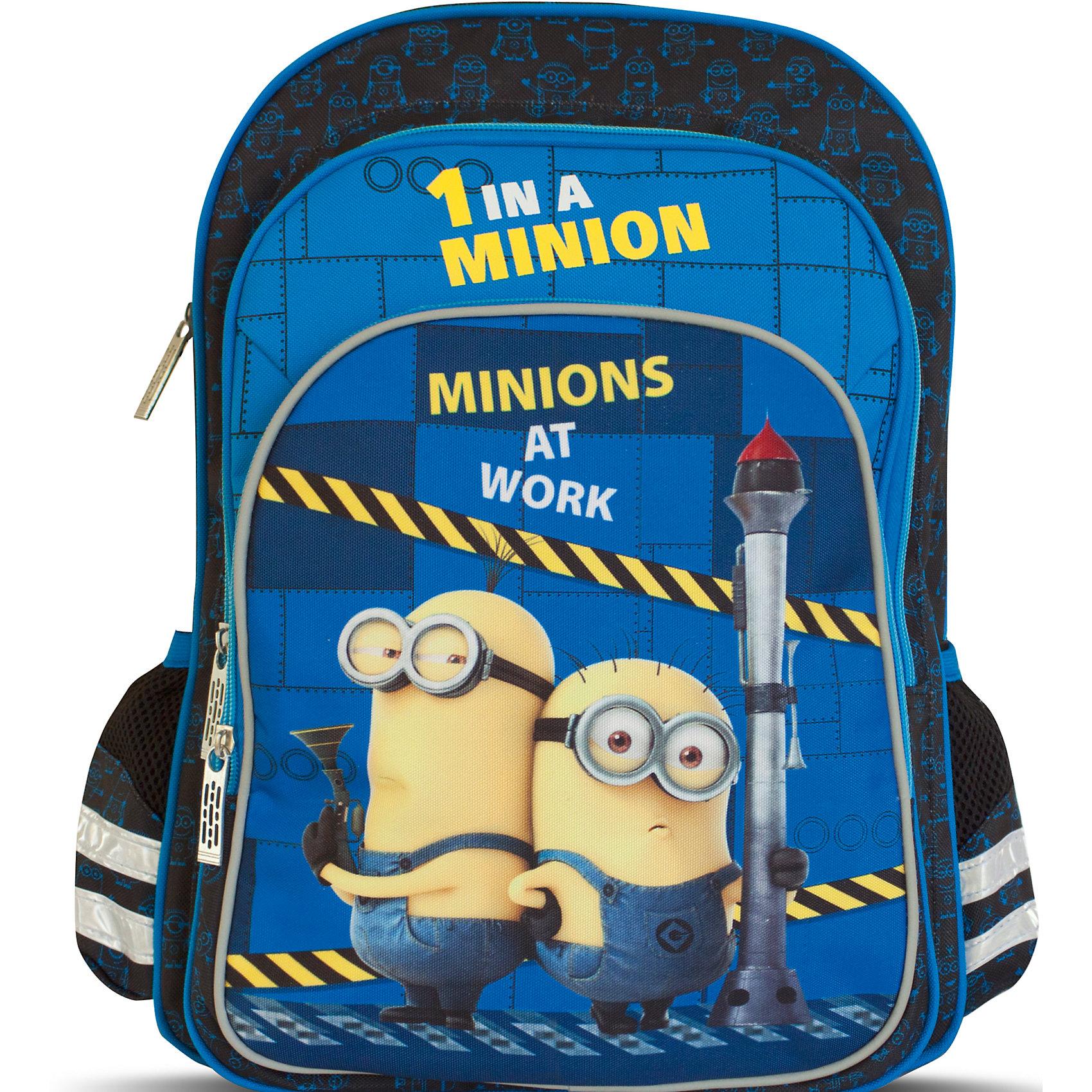 Ортопедический рюкзак МиньоныМиньоны<br>Мягкий ортопедический рюкзак «Гадкий Я» идеален для учебы в школе. Он имеет два объемных отделения на молнии: одно – основное, подходящее для учебников, с одним карманом для тетрадей; второе – поменьше, но достаточно вместительное для формата А4. Спереди размещается большой карман на молнии, внутри которого есть два маленьких кармашка, подходящих для кошелька или телефона. Два боковых сетчатых кармашка на резинках пригодятся для мелких предметов. Удобная ортопедическая спинка, созданная по специальной технологии из дышащего плотного и мягкого поролона, равномерно распределяет нагрузку на позвоночник. Мягкие анатомические регулируемые лямки оберегают плечи ребенка от натирания. Светоотражающие элементы, расположенные на лямках, лицевом и боковых карманах, повышают безопасность ребенка на дороге в темное время суток. Прорезиненная ручка удобна для переноски рюкзака в руке или размещения на вешалке. <br>Аксессуар декорирован модным принтом (сублимированной печатью). <br><br>Дополнительная информация:<br><br>Размер: 38х28х13 см.<br>Вес: 760 г.<br><br>Ортопедический рюкзак Миньоны  можно купить в нашем магазине.<br><br>Ширина мм: 390<br>Глубина мм: 330<br>Высота мм: 60<br>Вес г: 760<br>Возраст от месяцев: 36<br>Возраст до месяцев: 120<br>Пол: Унисекс<br>Возраст: Детский<br>SKU: 4646737