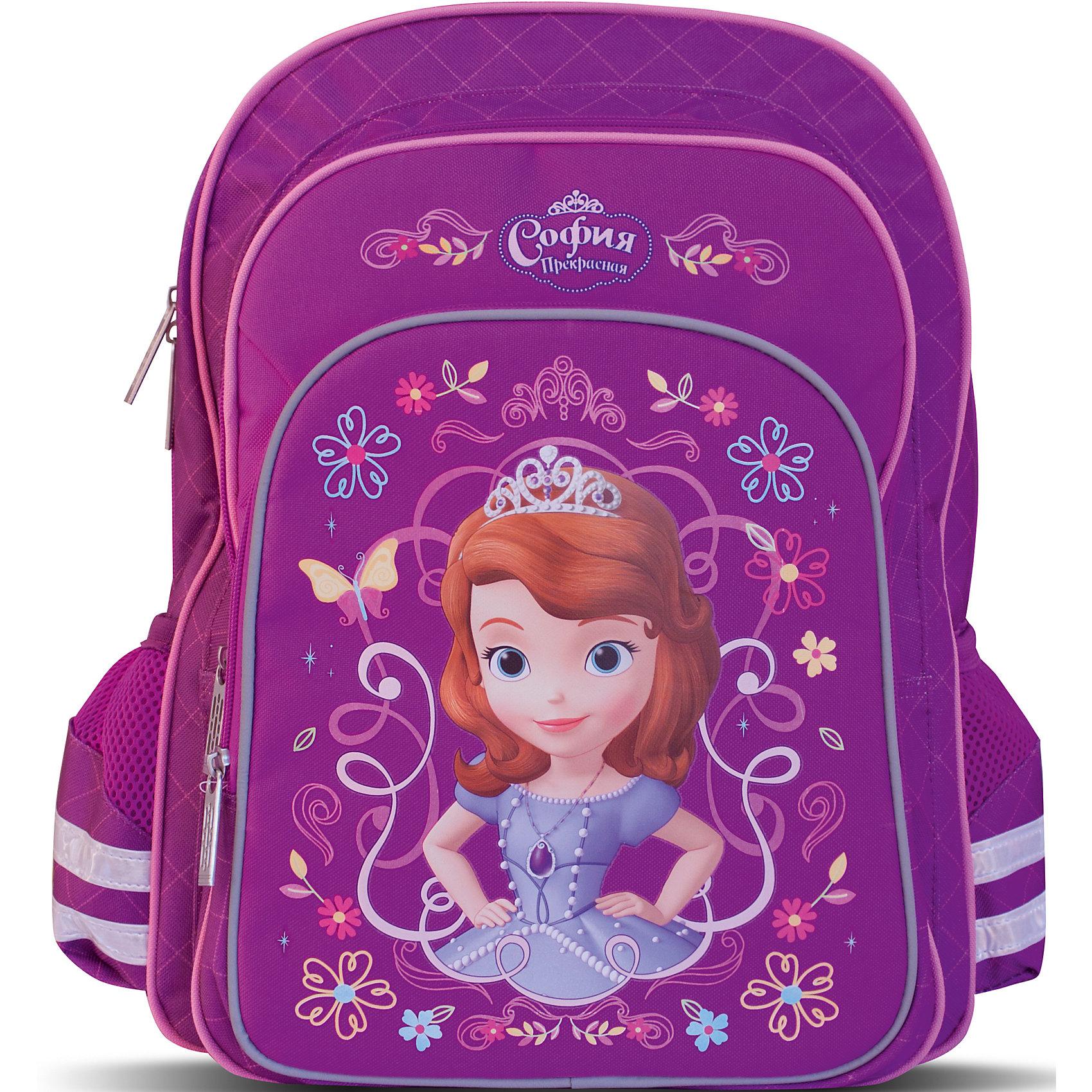 Ортопедический рюкзак София ПрекраснаяМягкий ортопедический рюкзак Disney «София» идеален для школы. Он имеет два объемных отделения на молнии: одно – основное, подходящее для учебников, с одним карманом для тетрадей; второе – поменьше, но достаточно вместительное для формата А4. Спереди размещается большой карман на молнии, внутри которого есть два маленьких кармашка, подходящих для кошелька или телефона. Два боковых сетчатых кармашка на резинках пригодятся для мелких предметов. Удобная ортопедическая спинка, созданная по специальной технологии из дышащего плотного и мягкого поролона, равномерно распределяет нагрузку на позвоночник. Мягкие анатомические регулируемые лямки оберегают плечи ребенка от натирания. Светоотражающие элементы, расположенные на лямках, лицевом и боковых карманах, повышают безопасность ребенка на дороге в темное время суток. Прорезиненная ручка удобна для переноски рюкзака в руке или размещения на вешалке. <br>Аксессуар декорирован модным принтом (сублимированной печатью). <br><br>Дополнительная информация:<br><br>Размер: 38х28х13 см.<br>Вес: 760 г.<br><br>Ортопедический рюкзак София Прекрасная можно купить в нашем магазине.<br><br>Ширина мм: 390<br>Глубина мм: 320<br>Высота мм: 60<br>Вес г: 760<br>Возраст от месяцев: 36<br>Возраст до месяцев: 120<br>Пол: Женский<br>Возраст: Детский<br>SKU: 4646743