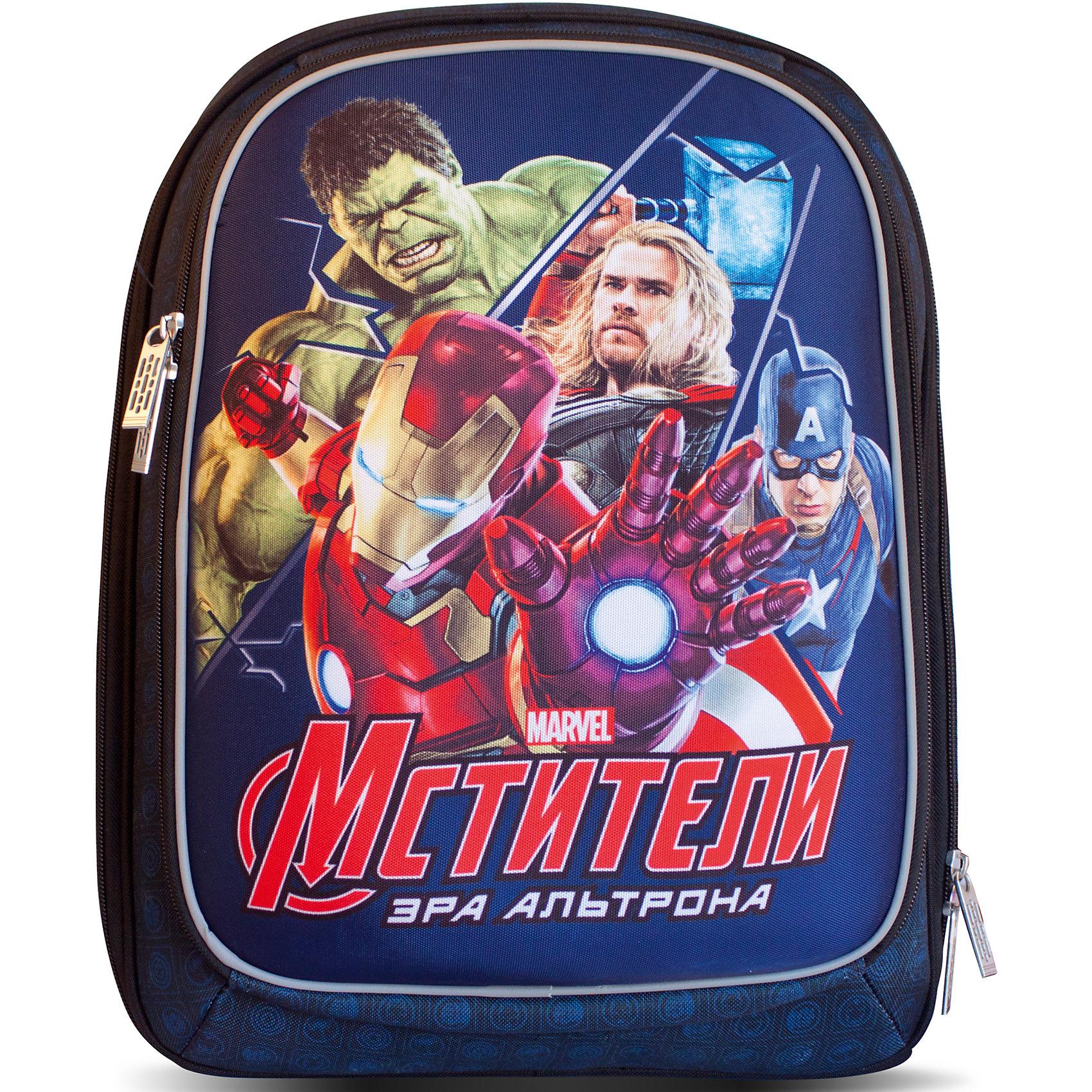 Жёсткий рюкзак МстителиМодный и вместительный жесткий рюкзак Marvel «Мстители» станет незаменимым помощником вашему ребенку в его школьной жизни. Аксессуар имеет два объемных отделения на молнии, свободно вмещающих формат А4: одно – основное, с двумя отсеками для тетрадей; второе – поменьше, с большим сетчатым карманом, подходящим для тетрадей или пенала. Ортопедическая спинка, усиленная дышащим плотным и мягким поролоном, равномерно распределяет нагрузку на позвоночник. Мягкие анатомические регулируемые лямки оберегают плечи ребенка от натирания. Светоотражающие элементы, расположенные на лицевом отделении и лямках, повышают безопасность ребенка на дороге в темное время суток. Прорезиненная ручка удобна для переноски рюкзака в руке. <br>Аксессуар декорирован модным принтом (сублимированной печатью). <br><br>Дополнительная информация:<br><br>Размер: 38х26х19,5 см.<br>Вес: 1030 г.<br><br>Жёсткий рюкзак Мстители можно купить в нашем магазине.<br><br>Ширина мм: 420<br>Глубина мм: 300<br>Высота мм: 240<br>Вес г: 1030<br>Возраст от месяцев: 36<br>Возраст до месяцев: 120<br>Пол: Мужской<br>Возраст: Детский<br>SKU: 4646746