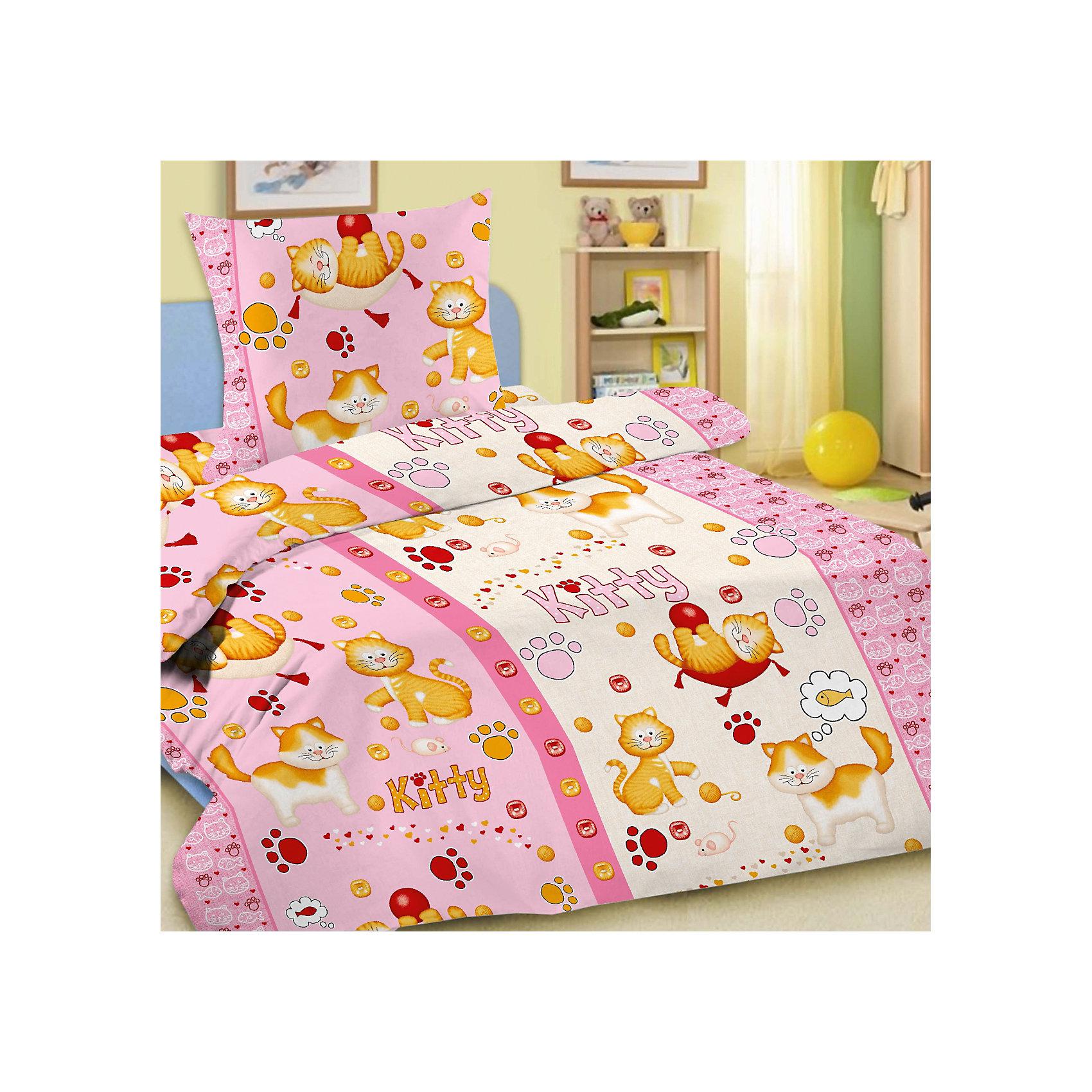 Letto Комплект Китти 1,5-спальный (наволочка 50х70), розовый комплект сакура розовый размер 1 5 спальный
