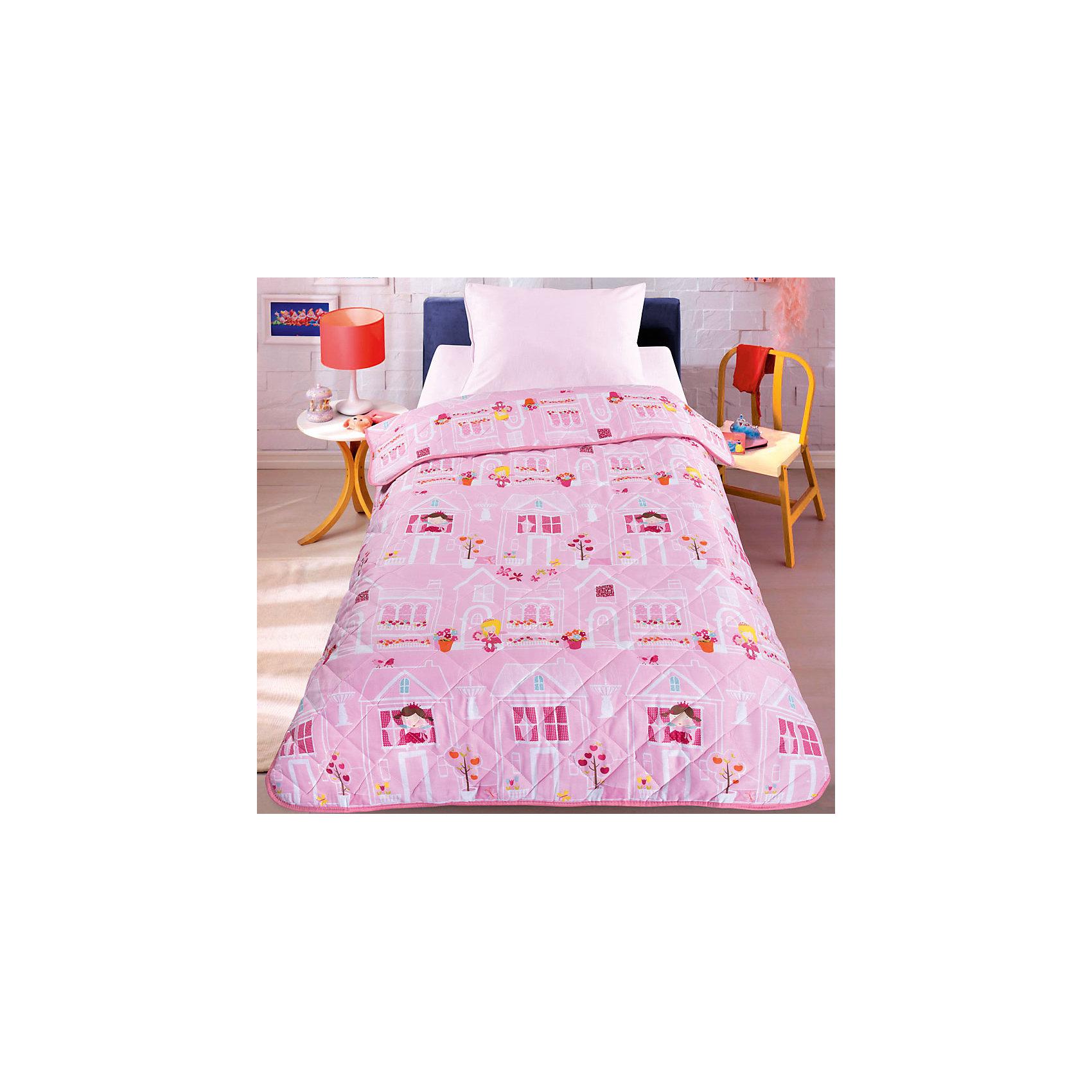 Двустороннее покрывало-одеяло Домик принцесс 140*210смЛегкое оригинальное покрывало в чехле будет радовать вас и вашего малыша в течение всего года. Сидеть на таком покрывале будет приятно и комфортно - ведь оно выполнено из 100% хлопка (перкаль). К тому же покрывало можно использовать и как одеяло на детскую кровать.<br><br>Дополнительная информация:<br><br>Размер 140*210см.<br>Подлежит машинной стирке при температуре 30 гр., строго на деликатном режиме.<br>Материал: 100% хлопок<br>Наполнитель - силиконизированное волокно.<br><br>Двустороннее покрывало-одеяло Домик принцесс 140*210см можно купить в нашем магазине.<br><br>Ширина мм: 400<br>Глубина мм: 100<br>Высота мм: 500<br>Вес г: 1500<br>Возраст от месяцев: 36<br>Возраст до месяцев: 96<br>Пол: Женский<br>Возраст: Детский<br>SKU: 4647792