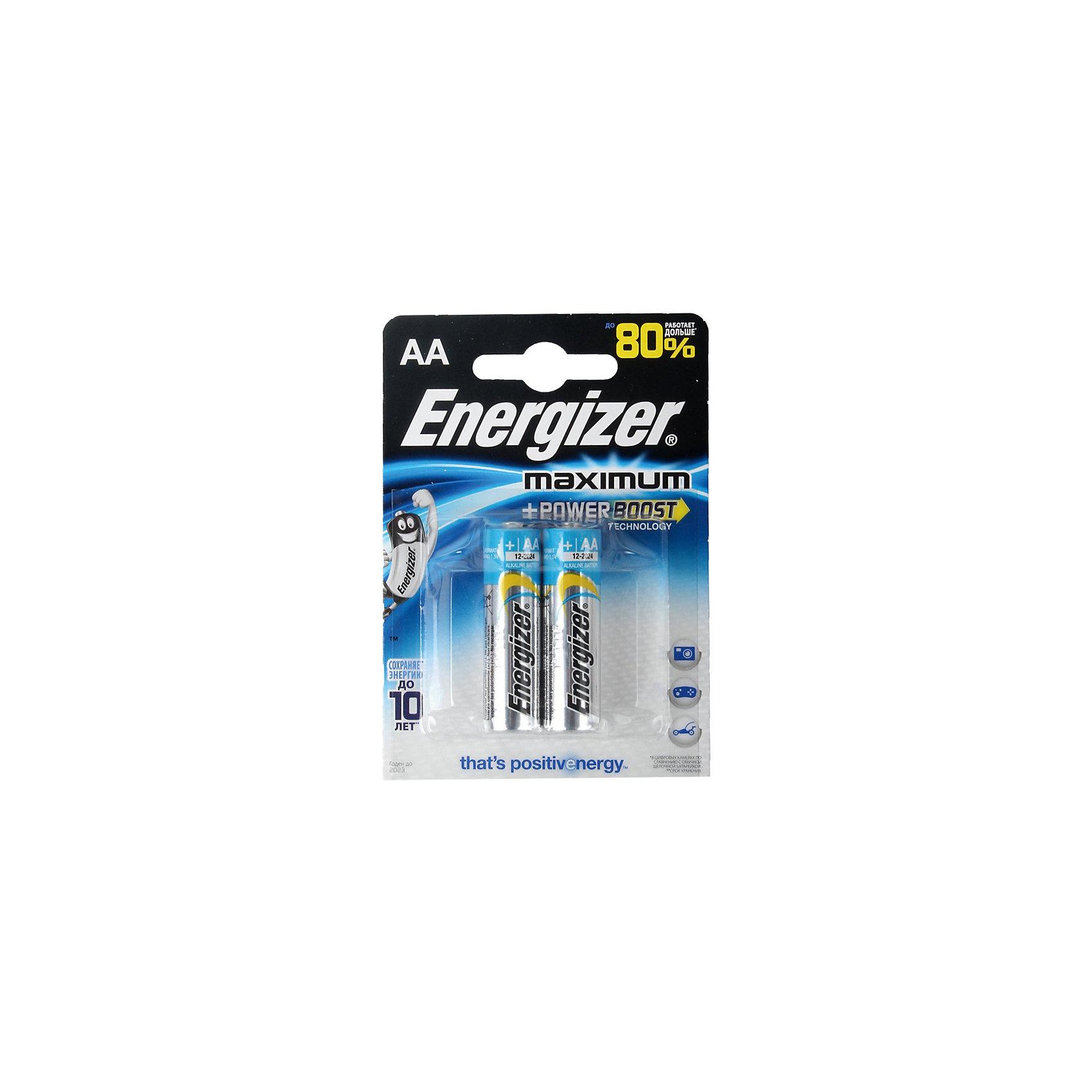 Батарейка Energizer MAX LR6/E91 AA 2 штБатарейки Energizer Maximum с технологией PowerBoost - самые долговечные батарейки в семействе щелочных батареек Energizer (Энерджайзер). Они работают до 80% дольше, чем стандартные щелочные батарейки, идеальны для часто используемых устройств. Сохраняют заряд до 10 лет. Устанавливаются в цифровые камеры, плееры, игровые приставки и другие приборы повседневного использования.<br><br>Дополнительная информация:<br><br>В упаковке 2 батарейки<br>Тип: АА (LR6/E91)<br><br>Батарейки Energizer MAX LR6/E91 AA 2 шт можно купить в нашем магазине.<br><br>Ширина мм: 90<br>Глубина мм: 70<br>Высота мм: 20<br>Вес г: 32<br>Возраст от месяцев: 36<br>Возраст до месяцев: 2147483647<br>Пол: Унисекс<br>Возраст: Детский<br>SKU: 4648792