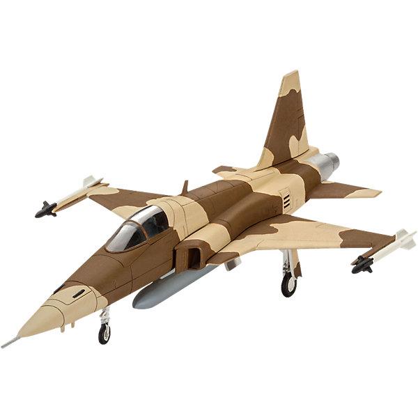 Истребитель F-5E TigerСамолеты и вертолеты<br>Характеристики товара:<br><br>• возраст: от 10 лет;<br>• масштаб: 1:144;<br>• количество деталей: 50 шт;<br>• материал: пластик; <br>• клей и краски в комплект не входят;<br>• длина модели: 26,1 см;<br>• размах крыльев: 23,5 см;<br>• бренд, страна бренда: Revell (Ревел),Германия;<br>• страна-изготовитель: Китай.<br><br>Сборная модель для склеивания «Истребитель F-5E Tiger» поможет вам и вашему ребенку придумать увлекательное занятие на долгое время и заполнит досуг веселой игрой. <br><br>Набор включает в себя 50 элементов из высококачественного пластика, лист с наклейками,  1 рамка (фонарь кабины), схема для окрашивания модели и инструкция, с помощью которых можно собрать достоверную уменьшенную копию настоящего истребителя.<br><br>Истребитель F-5E Tiger был разработан американской фирмой Northrop Corporation, после второй мировой войны он был взят на вооружение более тридцатью странами. Это легкий тактический истребитель обладает усовершенствованной системой аэродинамики, у него автоматическое управление механизмом наплывающего крыла. Также самолет уникален тем, что его носовая часть позволяет маневрировать на больших углах атаки.<br> <br>Процесс сборки развивает интеллектуальные и инструментальные способности, воображение и конструктивное мышление, а также прививает практические навыки работы со схемами и чертежами. <br><br>Обращаем ваше внимание на тот факт, что для сборки этой модели клей и краски в комплект не входят. <br><br>Сборную модель для склеивания «Истребитель F-5E Tiger», 50 дет., Revell (Ревел) можно купить в нашем интернет-магазине.<br>Ширина мм: 210; Глубина мм: 131; Высота мм: 38; Вес г: 83; Возраст от месяцев: 120; Возраст до месяцев: 180; Пол: Мужской; Возраст: Детский; SKU: 4649112;