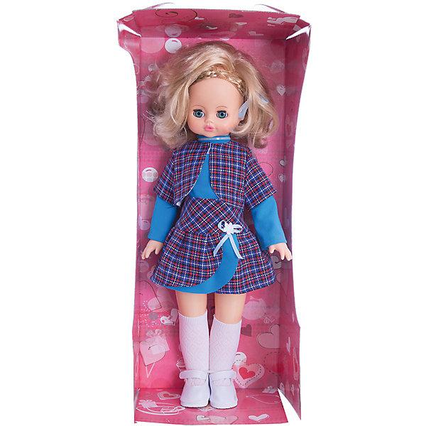 Кукла Эльвира 2, со звуком, 55 см, ВеснаКуклы<br>Кукла Эльвира 2 со звуком от марки Весна<br><br>Большая красивая кукла от отечественного производителя способна не просто помочь ребенку весело проводить время, но и научить девочку одеваться со вкусом. На ней - модный костюм и обувь, всё можно снимать и надевать.<br>Кукла произносит несколько фраз, механизм работает от батареек, которые идут в комплекте. Очень красиво смотрятся пышные волосы, на которых можно делать прически. Сделана игрушка из качественных и безопасных для ребенка материалов.<br><br>Отличительные особенности куклы:<br><br>- материал: пластмасса;<br>- волосы: прошивные;<br>- звуковой модуль;<br>- голова поворачивается;<br>- руки и ноги гнутся;<br>- снимающаяся одежда и обувь;<br>- закрывающиеся глаза;<br>- высота: 55 см.<br><br>Комплектация:<br><br>- одежда;<br>- три батарейки СЦ 357.<br><br>Куклу Эльвира 2 со звуком от марки Весна можно купить в нашем магазине.<br>Ширина мм: 240; Глубина мм: 150; Высота мм: 590; Вес г: 900; Возраст от месяцев: 36; Возраст до месяцев: 120; Пол: Женский; Возраст: Детский; SKU: 4650456;