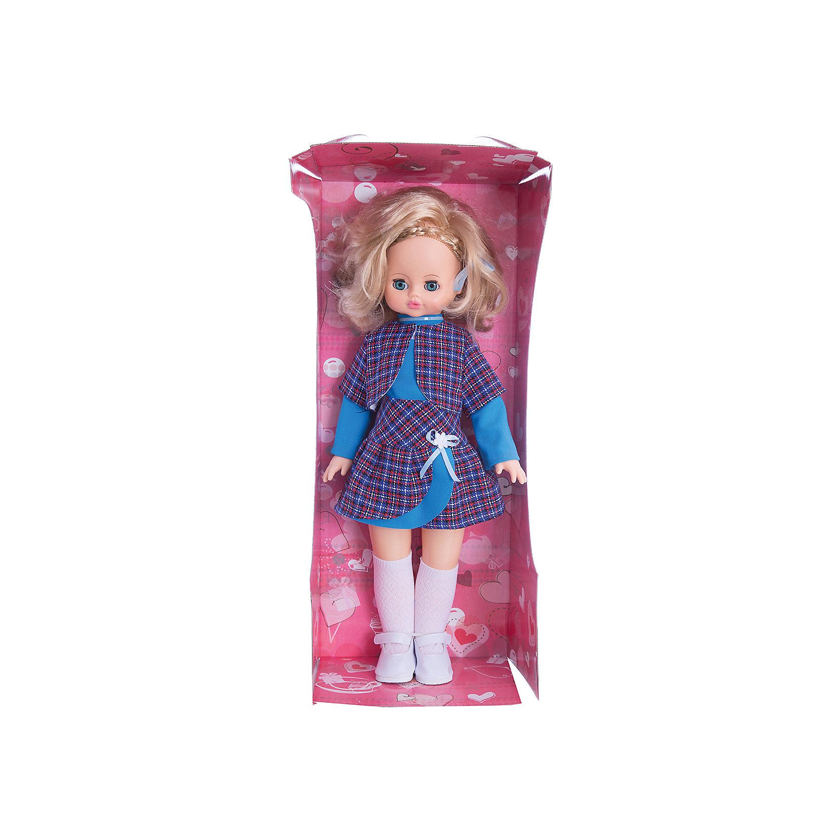 Кукла Эльвира 2, со звуком, 55 см, ВеснаКукла Эльвира 2 со звуком от марки Весна<br><br>Большая красивая кукла от отечественного производителя способна не просто помочь ребенку весело проводить время, но и научить девочку одеваться со вкусом. На ней - модный костюм и обувь, всё можно снимать и надевать.<br>Кукла произносит несколько фраз, механизм работает от батареек, которые идут в комплекте. Очень красиво смотрятся пышные волосы, на которых можно делать прически. Сделана игрушка из качественных и безопасных для ребенка материалов.<br><br>Отличительные особенности куклы:<br><br>- материал: пластмасса;<br>- волосы: прошивные;<br>- звуковой модуль;<br>- голова поворачивается;<br>- руки и ноги гнутся;<br>- снимающаяся одежда и обувь;<br>- закрывающиеся глаза;<br>- высота: 55 см.<br><br>Комплектация:<br><br>- одежда;<br>- три батарейки СЦ 357.<br><br>Куклу Эльвира 2 со звуком от марки Весна можно купить в нашем магазине.<br><br>Ширина мм: 240<br>Глубина мм: 150<br>Высота мм: 590<br>Вес г: 900<br>Возраст от месяцев: 36<br>Возраст до месяцев: 120<br>Пол: Женский<br>Возраст: Детский<br>SKU: 4650456