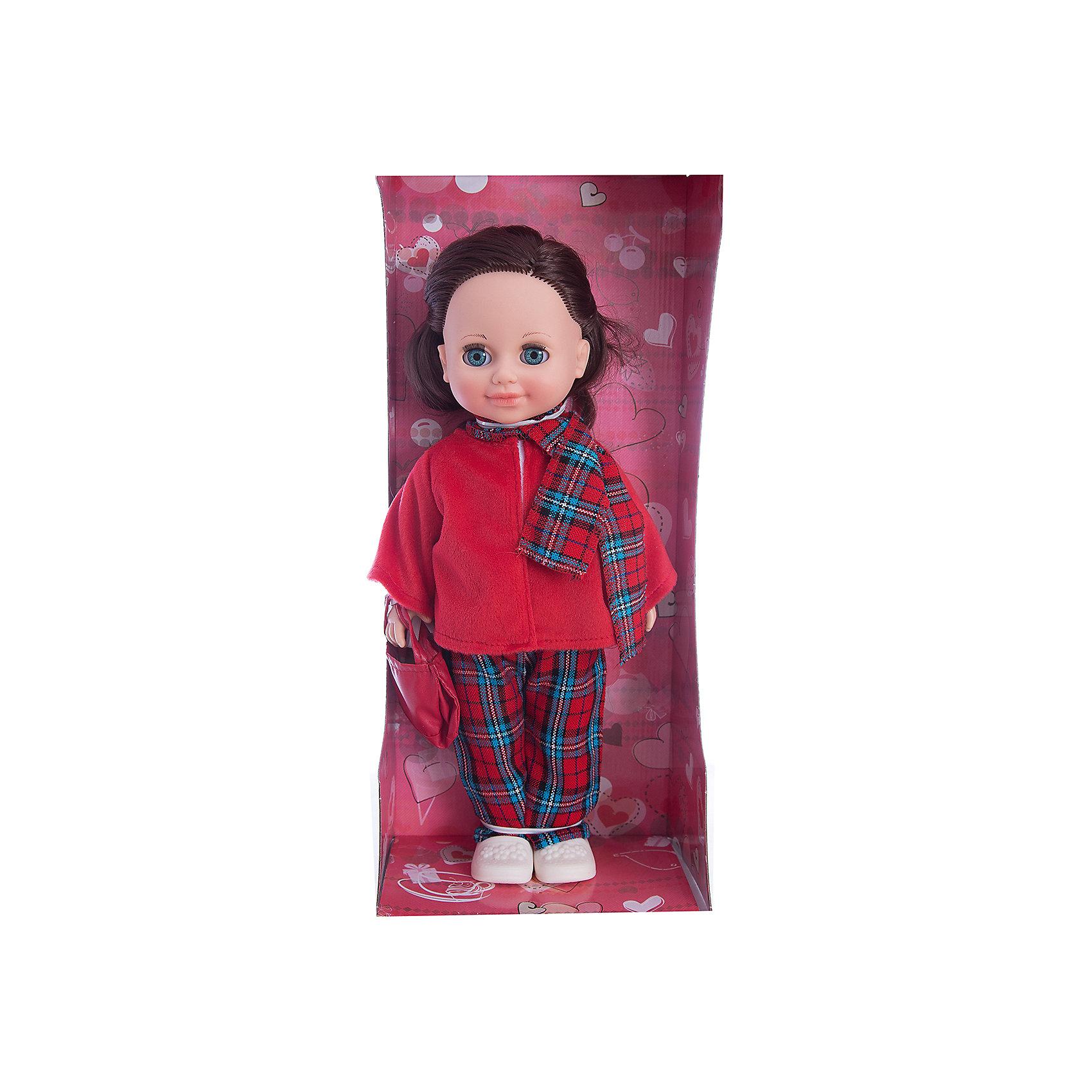 Кукла Анна 12, со звуком, ВеснаИнтерактивные куклы<br>Кукла Анна 12 со звуком от марки Весна<br><br>Симпатичная и качественная кукла от отечественного производителя способна не просто помочь ребенку весело проводить время, но и научить девочку одеваться по сезону. На ней - теплый костюм, сумочка и ботинки, всё можно снимать и надевать.<br>Кукла произносит несколько фраз, механизм работает от батареек, которые идут в комплекте. Очень красиво смотрятся длинные волосы, на которых можно делать прически. Сделана игрушка из качественных и безопасных для ребенка материалов.<br><br>Отличительные особенности куклы:<br><br>- материал: пластмасса;<br>- волосы: прошивные;<br>- звуковой модуль;<br>- голова поворачивается;<br>- руки и ноги гнутся;<br>- снимающаяся одежда и обувь;<br>- закрывающиеся глаза;<br>- высота: 42 см.<br><br>Комплектация:<br><br>- одежда;<br>- три батарейки СЦ 357.<br><br>Куклу Анна 12 со звуком от марки Весна можно купить в нашем магазине.<br><br>Ширина мм: 490<br>Глубина мм: 210<br>Высота мм: 130<br>Вес г: 550<br>Возраст от месяцев: 36<br>Возраст до месяцев: 120<br>Пол: Женский<br>Возраст: Детский<br>SKU: 4650458