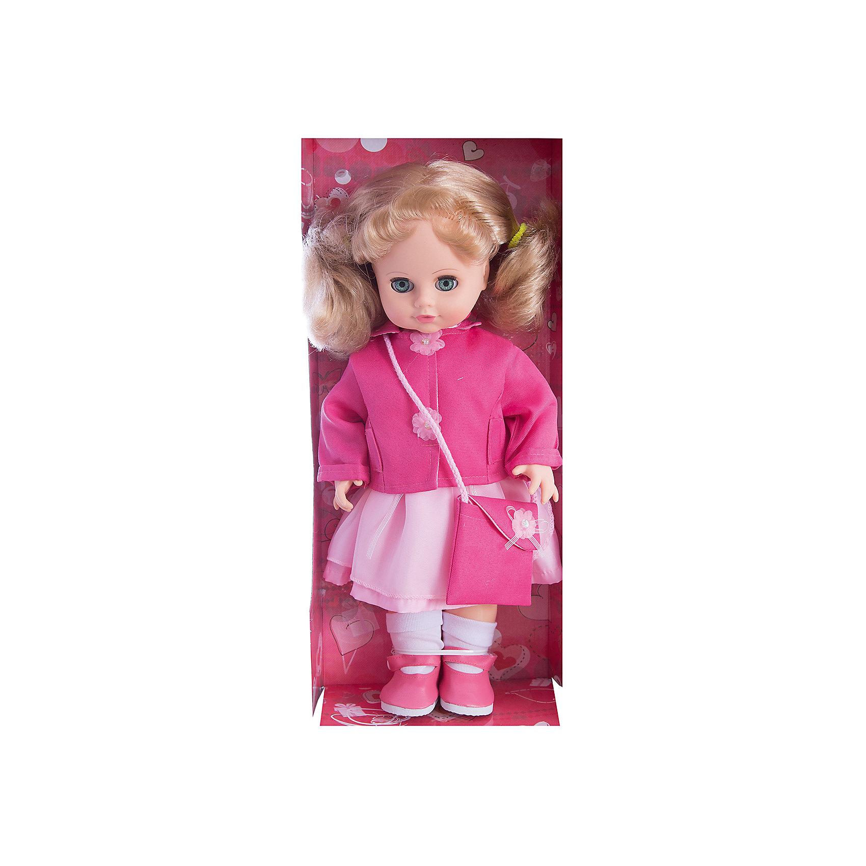 Кукла Инна 23, со звуком, 43 см, ВеснаИнтерактивные куклы<br>Кукла Инна 23 со звуком от марки Весна<br><br>Красивая и качественная кукла от отечественного производителя способна не просто помочь ребенку весело проводить время, но и научить девочку одеваться по сезону. На ней - красивая одежда, сумочка и ботинки, всё можно снимать и надевать.<br>Кукла произносит несколько фраз, механизм работает от батареек, которые идут в комплекте. Сделана игрушка из качественных и безопасных для ребенка материалов.<br><br>Отличительные особенности куклы:<br><br>- материал: пластмасса;<br>- волосы: прошивные;<br>- звуковой модуль;<br>- голова поворачивается;<br>- руки и ноги гнутся;<br>- снимающаяся одежда и обувь;<br>- закрывающиеся глаза;<br>- высота: 43 см.<br><br>Комплектация:<br><br>- одежда;<br>- три батарейки СЦ 357.<br><br>Куклу Инна 23 со звуком от марки Весна можно купить в нашем магазине.<br><br>Ширина мм: 210<br>Глубина мм: 130<br>Высота мм: 430<br>Вес г: 550<br>Возраст от месяцев: 36<br>Возраст до месяцев: 120<br>Пол: Женский<br>Возраст: Детский<br>SKU: 4650459