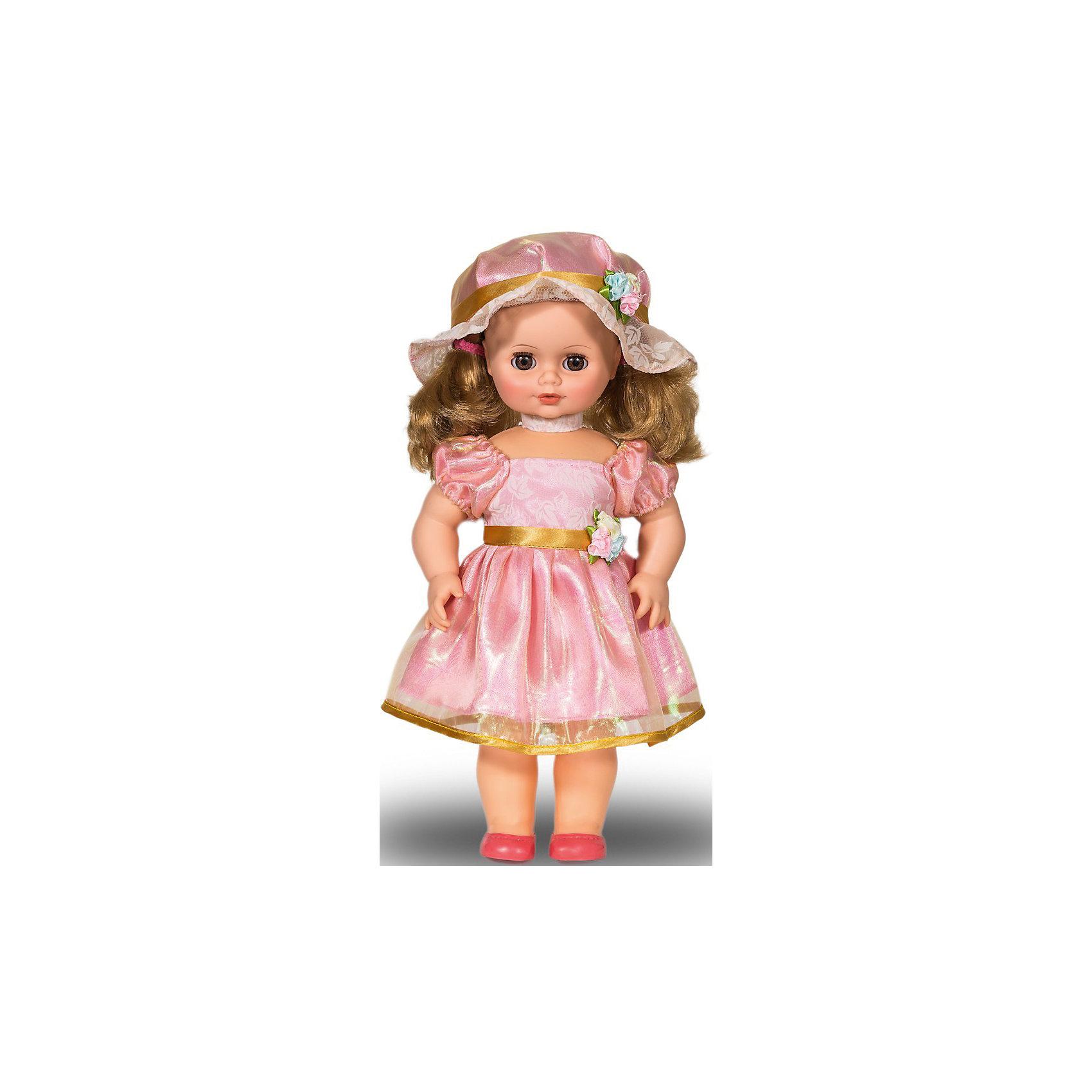 Кукла Инна 48, со звуком, ВеснаИнтерактивные куклы<br>Кукла Инна 48 со звуком от марки Весна<br><br>Очень нарядная и качественная кукла от отечественного производителя способна не просто помочь ребенку весело проводить время, но и научить девочку красиво одеваться. На ней - пышное платье и нарядная шляпка, всё можно снимать и надевать.<br>Кукла произносит несколько фраз, механизм работает от батареек, которые идут в комплекте. Сделана игрушка из качественных и безопасных для ребенка материалов.<br><br>Отличительные особенности куклы:<br><br>- материал: пластмасса;<br>- волосы: прошивные;<br>- звуковой модуль;<br>- голова поворачивается;<br>- руки и ноги гнутся;<br>- снимающаяся одежда и обувь;<br>- закрывающиеся глаза;<br>- высота: 43 см.<br><br>Комплектация:<br><br>- одежда;<br>- три батарейки СЦ 357.<br><br>Куклу Инна 48 со звуком от марки Весна можно купить в нашем магазине.<br><br>Ширина мм: 430<br>Глубина мм: 240<br>Высота мм: 430<br>Вес г: 810<br>Возраст от месяцев: 36<br>Возраст до месяцев: 120<br>Пол: Женский<br>Возраст: Детский<br>SKU: 4650460