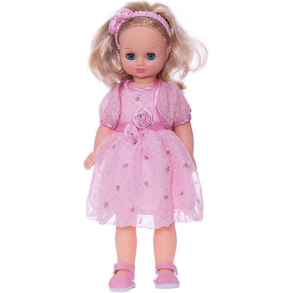 Кукла Лиза 23, со звуком, ВеснаБренды кукол<br>Кукла Лиза 23 со звуком от марки Весна<br><br>Красивая и качественная кукла от отечественного производителя способна не просто помочь ребенку весело проводить время, но и научить девочку женственно одеваться. На ней - пышное платье и болеро, а также туфли, всё можно снимать и надевать.<br>Кукла произносит несколько фраз, механизм работает от батареек, которые идут в комплекте. Такая кукла помогает ребенку нарабатывать социальные навыки, учиться заботе и весело познавать мир. Сделана игрушка из качественных и безопасных для ребенка материалов.<br><br>Отличительные особенности куклы:<br><br>- материал: пластмасса;<br>- волосы: прошивные;<br>- звуковой модуль;<br>- голова поворачивается;<br>- руки и ноги гнутся;<br>- снимающаяся одежда и обувь;<br>- закрывающиеся глаза;<br>- высота: 42 см.<br><br>Комплектация:<br><br>- одежда (ободок, платье, болеро, туфли);<br>- три батарейки СЦ 357.<br><br>Куклу Лиза 23 со звуком от марки Весна можно купить в нашем магазине.<br><br>Ширина мм: 490<br>Глубина мм: 210<br>Высота мм: 130<br>Вес г: 550<br>Возраст от месяцев: 36<br>Возраст до месяцев: 120<br>Пол: Женский<br>Возраст: Детский<br>SKU: 4650461