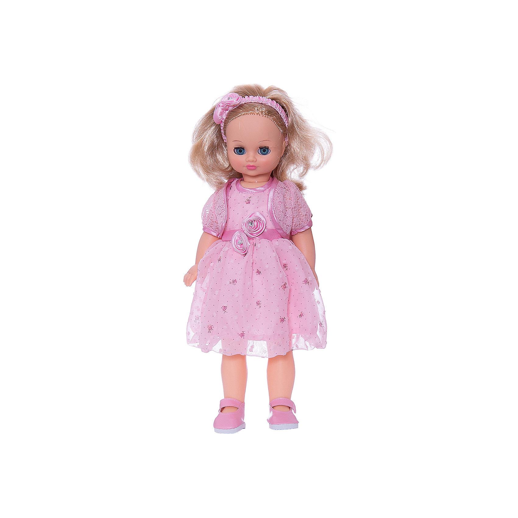Кукла Лиза 23, со звуком, ВеснаИнтерактивные куклы<br>Кукла Лиза 23 со звуком от марки Весна<br><br>Красивая и качественная кукла от отечественного производителя способна не просто помочь ребенку весело проводить время, но и научить девочку женственно одеваться. На ней - пышное платье и болеро, а также туфли, всё можно снимать и надевать.<br>Кукла произносит несколько фраз, механизм работает от батареек, которые идут в комплекте. Такая кукла помогает ребенку нарабатывать социальные навыки, учиться заботе и весело познавать мир. Сделана игрушка из качественных и безопасных для ребенка материалов.<br><br>Отличительные особенности куклы:<br><br>- материал: пластмасса;<br>- волосы: прошивные;<br>- звуковой модуль;<br>- голова поворачивается;<br>- руки и ноги гнутся;<br>- снимающаяся одежда и обувь;<br>- закрывающиеся глаза;<br>- высота: 42 см.<br><br>Комплектация:<br><br>- одежда (ободок, платье, болеро, туфли);<br>- три батарейки СЦ 357.<br><br>Куклу Лиза 23 со звуком от марки Весна можно купить в нашем магазине.<br><br>Ширина мм: 490<br>Глубина мм: 210<br>Высота мм: 130<br>Вес г: 550<br>Возраст от месяцев: 36<br>Возраст до месяцев: 120<br>Пол: Женский<br>Возраст: Детский<br>SKU: 4650461