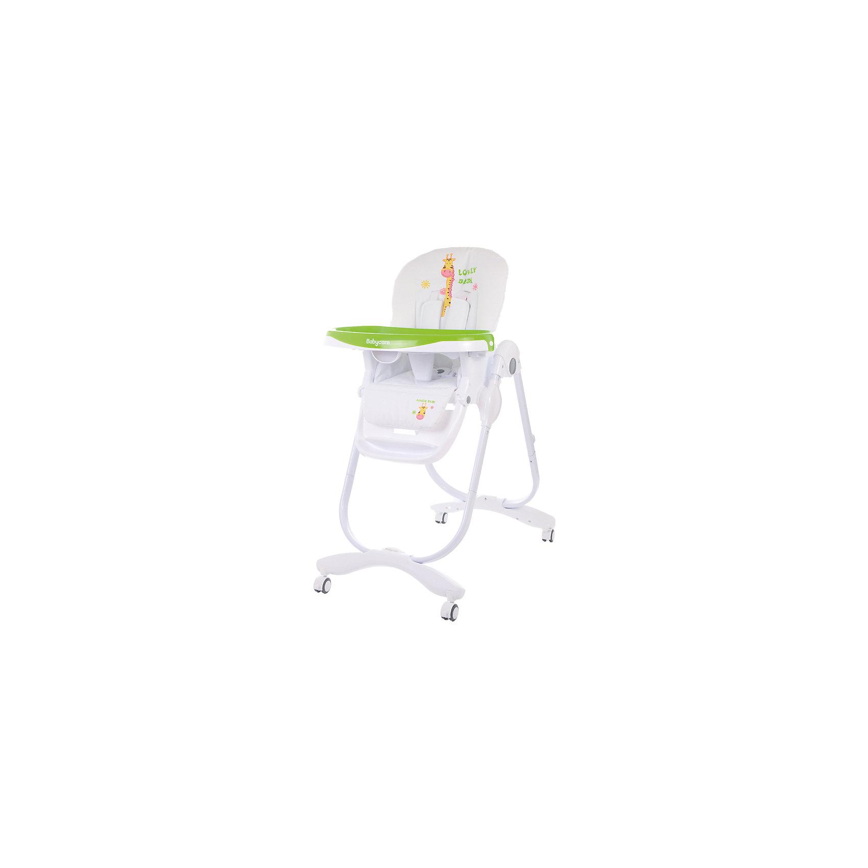 Стульчик для кормления Trona, Baby Care, зеленыйСтульчики для кормления<br>Характеристики детского стульчика для кормления Baby Care Trona:<br><br>• регулируемая высота сиденья: 7 уровней;<br>• регулируемый наклон спинки: 3 положения;<br>• регулируемая подножка с мягким основанием, пластиковая нерегулируемая подножка для детей старшего возраста;<br>• наличие 5-ти точечных ремней безопасности с мягкими накладками;<br>• пластиковый ограничитель, защита от соскальзывания;<br>• регулируемая глубина столешницы: 3 положения;<br>• съемная дополнительная столешница, с бортиками и подстаканником, прозрачный пластик;<br>• подставка для ножек;<br>• столик перед ребенком можно снять и убрать;<br>• мягкий чехол, съемный, стирается при температуре 30 градусов;<br>• на задней панели находится сумка-сетка для игрушек;<br>• рама стульчика оснащена колесиками;<br>• компактно складывается, устойчиво стоит в сложенном виде;<br>• материал: алюминий, пластик, полиэстер. <br><br>Пластиковый стульчик Trona Baby Care используется от полугода до 5 лет, в зависимости от возраста и роста малыша регулируется высота стульчика, угол наклона спинки, глубина столешницы, наличие/отсутствие столика перед ребенком. Стульчик компактно складывается, не занимает много места в сложенном виде. <br><br>Размеры стульчика Trona:<br><br>Размер стульчика в разложенном состоянии: 60х58х110 см<br>Размер стульчика в сложенном состоянии: 58х32х100 см<br>Ширина сиденья: 33 см<br>Вес стульчика: 9.6 кг<br>Размер упаковки: 60х32х55 см;<br>Вес в упаковке: 10,8 кг<br><br>Стульчик для кормления Trona, Baby Care, зеленый можно купить в нашем интернет-магазине.<br><br>Ширина мм: 600<br>Глубина мм: 550<br>Высота мм: 320<br>Вес г: 10800<br>Цвет: зеленый<br>Возраст от месяцев: 6<br>Возраст до месяцев: 60<br>Пол: Унисекс<br>Возраст: Детский<br>SKU: 4651200