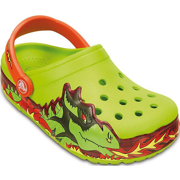 Сабо Kids' CrocsLights Fire Dragon Clog для мальчика CrocsПляжная обувь<br>Характеристики товара:<br><br>• цвет: зеленый<br>• материал: 100% полимер Croslite™<br>• литая модель<br>• вентиляционные отверстия<br>• бактериостатичный материал<br>• пяточный ремешок фиксирует стопу<br>• толстая устойчивая подошва<br>• отверстия для использования украшений<br>• анатомическая стелька с массажными точками стимулирует кровообращение<br>• страна бренда: США<br>• страна изготовитель: Китай<br><br>Для правильного развития ребенка крайне важно, чтобы обувь была удобной. Такие сабо обеспечивают детям необходимый комфорт, а анатомическая стелька с массажными линиями для стимуляции кровообращения позволяет ножкам дольше не уставать. Сабо легко надеваются и снимаются, отлично сидят на ноге. Материал, из которого они сделаны, не дает размножаться бактериям, поэтому такая обувь препятствует образованию неприятного запаха и появлению болезней стоп. <br>Обувь от американского бренда Crocs в данный момент завоевала широкую популярность во всем мире, и это не удивительно - ведь она невероятно удобна. Её носят врачи, спортсмены, звёзды шоу-бизнеса, люди, которым много времени приходится бывать на ногах - они понимают, как важна комфортная обувь. Продукция Crocs - это качественные товары, созданные с применением новейших технологий. Обувь отличается стильным дизайном и продуманной конструкцией. Изделие производится из качественных и проверенных материалов, которые безопасны для детей.<br><br>Сабо Kids' CrocsLights Fire Dragon Clog для мальчика от торговой марки Crocs можно купить в нашем интернет-магазине.<br><br>Ширина мм: 225<br>Глубина мм: 139<br>Высота мм: 112<br>Вес г: 290<br>Цвет: зеленый<br>Возраст от месяцев: 21<br>Возраст до месяцев: 24<br>Пол: Мужской<br>Возраст: Детский<br>Размер: 24,34/35,28,25,27,23,30,29,26,33/34,33/34,31/32<br>SKU: 4651834