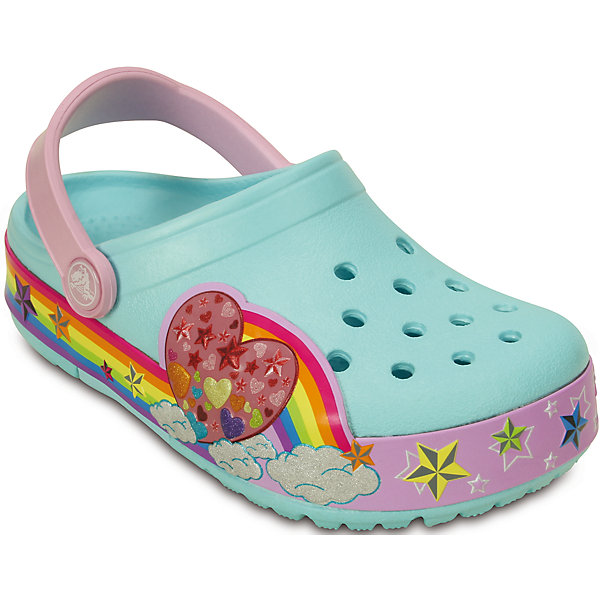 Сабо CrocsLights Rainbow Heart Clog для девочки CrocsПляжная обувь<br>Характеристики товара:<br><br>• цвет: голубой<br>• материал: 100% полимер Croslite™<br>• литая модель<br>• вентиляционные отверстия<br>• бактериостатичный материал<br>• пяточный ремешок фиксирует стопу<br>• толстая устойчивая подошва<br>• отверстия для использования украшений<br>• анатомическая стелька с массажными точками стимулирует кровообращение<br>• страна бренда: США<br>• страна изготовитель: Китай<br><br>Для правильного развития ребенка крайне важно, чтобы обувь была удобной. Такие сабо обеспечивают детям необходимый комфорт, а анатомическая стелька с массажными линиями для стимуляции кровообращения позволяет ножкам дольше не уставать. Сабо легко надеваются и снимаются, отлично сидят на ноге. Материал, из которого они сделаны, не дает размножаться бактериям, поэтому такая обувь препятствует образованию неприятного запаха и появлению болезней стоп. <br>Обувь от американского бренда Crocs в данный момент завоевала широкую популярность во всем мире, и это не удивительно - ведь она невероятно удобна. Её носят врачи, спортсмены, звёзды шоу-бизнеса, люди, которым много времени приходится бывать на ногах - они понимают, как важна комфортная обувь. Продукция Crocs - это качественные товары, созданные с применением новейших технологий. Обувь отличается стильным дизайном и продуманной конструкцией. Изделие производится из качественных и проверенных материалов, которые безопасны для детей.<br><br>Сабо CrocsLights Rainbow Heart Clog для девочки от торговой марки Crocs можно купить в нашем интернет-магазине.<br>Ширина мм: 225; Глубина мм: 139; Высота мм: 112; Вес г: 290; Цвет: синий; Возраст от месяцев: 24; Возраст до месяцев: 24; Пол: Женский; Возраст: Детский; Размер: 25,29,27,26,30,33/34,31/32,24,28,23; SKU: 4651842;