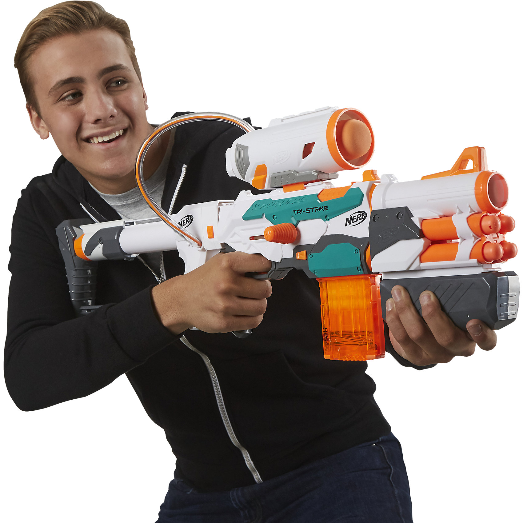 Бластер Модулус Три-Страйк, NERFБластер Модулус Три-Страйк, NERF - игрушка, которая позволит вашему ребенку одержать победы во всех сражениях! Оснащенный разнообразными боеприпасами, этот бластер наверняка станет любимой игрушкой вашего мальчика.<br><br>В комплект входят 4 крупные стрелы МЕГА, 10 стандартных стрел Элит и 1 ракета. Таким образом, 1 бластер сочетает в себе целых 3 типа стрельбы! Кроме того, данный бластер можно дополнять аксессуарами из других комплектов серии Модулус.<br><br>Дополнительная информация:<br><br>В комплект входит: бластер, прицел, насадка на дуло, подставка-упор, магазин на 10 стрел, крупные стрелы MEGA, 10 стандартных стрел Elite, 1 ракета.<br>Материалы: пластмасса.<br>Размер упаковки: 76 х 8.5 х 38 см.<br>Вес: 2.32 кг.<br><br>Бластер Модулус Три-Страйк, NERF можно купить в нашем интернет-магазине.<br><br>Ширина мм: 758<br>Глубина мм: 378<br>Высота мм: 88<br>Вес г: 2069<br>Возраст от месяцев: 96<br>Возраст до месяцев: 156<br>Пол: Мужской<br>Возраст: Детский<br>SKU: 4652000