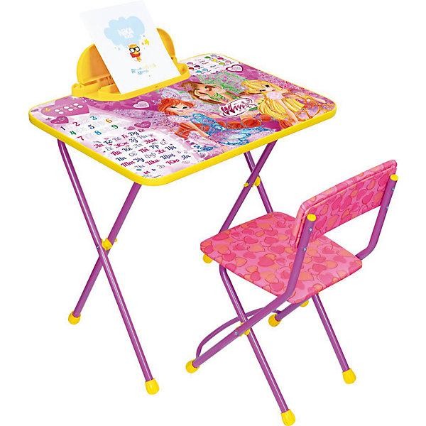 Набор мебели В2А, Винкс, Winx Club, НикаДетские столы и стулья<br>Симпатичный комфортный набор детской мебели Винкс идеально подойдет для занятий, игр и творчества девочки 3 -7 лет. В набор входят стол и стул с металлическим каркасом и мягким сиденьем, оформленные по мотивам популярного мультсериала Винкс (Winx Club).<br>Пластиковая столешница облицована пленкой, на которой изображены буквы русского алфавита и красочные рисунки с очаровательными волшебницами Winx. На край стола крепится пенал для хранения письменных принадлежностей. Мебель удобна и безопасна для ребенка, углы стола и стула мягко закруглены. Ножки снабжены наконечниками, предотвращающими скольжение. Сиденье стульчика можно мыть. Стул и стол легко складываются и не занимают много места при хранении.<br><br>Дополнительная информация:<br><br>- В комплекте: складной стол, пенал, мягкий складной стул.<br>- Материал: пластик, металл.<br>- Размер стула: высота до сиденья - 34 см., сиденье - 30 х 30 см.<br>- Размер стола: 60 х 45 х 57 см.<br>- Размер упаковки: 65 х 22 х 75 см.<br>- Вес: 8,2 кг.<br><br>Набор детской мебели Винкс (стол, стул, пенал), Ника, можно купить в нашем интернет-магазине.<br>Ширина мм: 820; Глубина мм: 820; Высота мм: 60; Вес г: 8200; Возраст от месяцев: 36; Возраст до месяцев: 84; Пол: Женский; Возраст: Детский; SKU: 4652025;