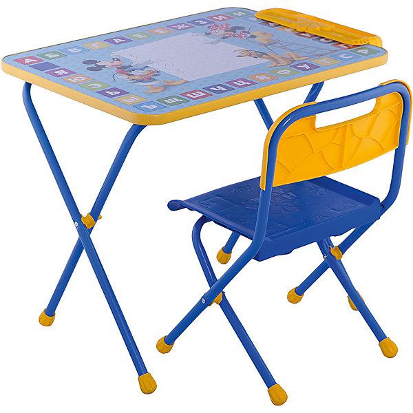 Набор мебели Д1М, Микки Маус и его друзья, НикаДетские столы и стулья<br>Симпатичный комфортный набор детской мебели Микки Маус и его друзья идеально подойдет для занятий, игр и творчества детей 3 -7 лет. В набор входят стол и стул с металлическим каркасом и пластиковым сиденьем, оформленные по мотивам популярных диснеевских мультфильмов. Пластиковая столешница облицована пленкой, на которой изображены красочные буквы русского алфавита и забавные персонажи мультфильмов о Микки-Маусе. На край стола крепится пенал для хранения письменных принадлежностей. Мебель удобна и безопасна для ребенка, углы стола и стула мягко закруглены. Ножки снабжены наконечниками, предотвращающими скольжение. Сиденье стульчика можно мыть. Стул и стол легко складываются и не занимают много места при хранении. Набор рассчитан на рост 115-130 см.<br><br>Дополнительная информация:<br><br>- В комплекте: складной стол, пенал, мягкий складной стул.<br>- Материал: пластик, металл.<br>- Размер стула: высота до сиденья - 30 см., высота стула со спинкой: 54 см., сиденье - 25 х 28 см.<br>- Размер стола: 60 х 45 х 50 см.<br>- Вес: 8,2 кг.<br><br>Набор детской мебели Микки Маус и его друзья (стол, стул, пенал), Ника, можно купить в нашем интернет-магазине.<br>Ширина мм: 8200; Глубина мм: 8200; Высота мм: 60; Вес г: 8200; Возраст от месяцев: 36; Возраст до месяцев: 96; Пол: Унисекс; Возраст: Детский; SKU: 4652026;