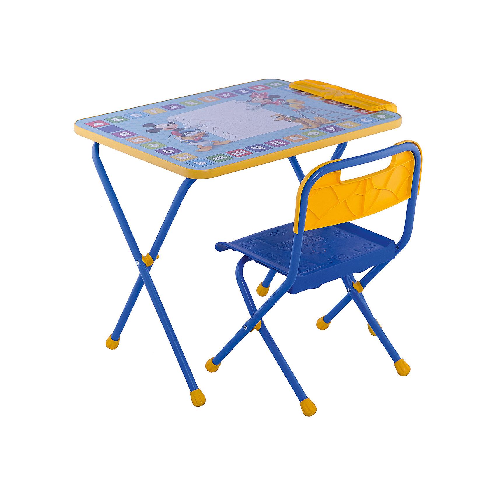 Набор мебели Д1М, Микки Маус и его друзья, НикаМикки Маус и его друзья<br>Симпатичный комфортный набор детской мебели Микки Маус и его друзья идеально подойдет для занятий, игр и творчества детей 3 -7 лет. В набор входят стол и стул с металлическим каркасом и пластиковым сиденьем, оформленные по мотивам популярных диснеевских мультфильмов. Пластиковая столешница облицована пленкой, на которой изображены красочные буквы русского алфавита и забавные персонажи мультфильмов о Микки-Маусе. На край стола крепится пенал для хранения письменных принадлежностей. Мебель удобна и безопасна для ребенка, углы стола и стула мягко закруглены. Ножки снабжены наконечниками, предотвращающими скольжение. Сиденье стульчика можно мыть. Стул и стол легко складываются и не занимают много места при хранении. Набор рассчитан на рост 115-130 см.<br><br>Дополнительная информация:<br><br>- В комплекте: складной стол, пенал, мягкий складной стул.<br>- Материал: пластик, металл.<br>- Размер стула: высота до сиденья - 30 см., высота стула со спинкой: 54 см., сиденье - 25 х 28 см.<br>- Размер стола: 60 х 45 х 50 см.<br>- Вес: 8,2 кг.<br><br>Набор детской мебели Микки Маус и его друзья (стол, стул, пенал), Ника, можно купить в нашем интернет-магазине.<br><br>Ширина мм: 8200<br>Глубина мм: 8200<br>Высота мм: 60<br>Вес г: 8200<br>Возраст от месяцев: 36<br>Возраст до месяцев: 96<br>Пол: Унисекс<br>Возраст: Детский<br>SKU: 4652026