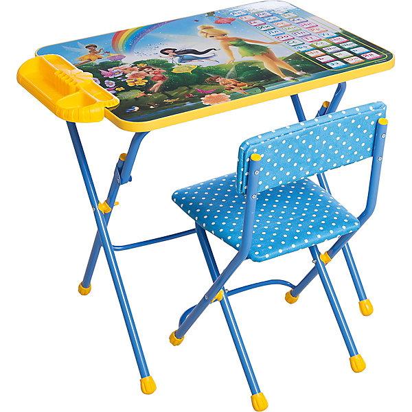 Набор мебели Азбука (стол, стул, пенал), Феи ДиснейДетские столы и стулья<br>Симпатичный комфортный набор детской мебели Феи. Азбука идеально подойдет для занятий, игр и творчества девочки 3 -7 лет. В набор входят стол и стул с металлическим каркасом и мягким сиденьем, оформленные по мотивам популярного мультсериала Феи. Пластиковая столешница облицована пленкой на которой изображены буквы русского алфавита и красочные рисунки с очаровательными феями. На край стола крепится пенал для хранения письменных принадлежностей. Мебель удобна и безопасна для ребенка, углы стола и стула мягко закруглены. Ножки снабжены наконечниками, предотвращающими скольжение. Сиденье стульчика можно мыть. Стул и стол легко складываются и не занимают много места при хранении.<br><br>Дополнительная информация:<br><br>- В комплекте: складной стол, пенал, мягкий складной стул.<br>- Материал: пластик, металл.<br>- Размер стула: высота до сиденья - 30 см., сиденье - 30 х 30 см.<br>- Размер стола: 60 х 45 х 57 см.<br>- Размер упаковки: 75 х 60 х 16 см.<br>- Вес: 8,2 кг.<br><br>Набор детской мебели Феи. Азбука (стол, стул, пенал), Ника, можно купить в нашем интернет-магазине.<br><br>Ширина мм: 8200<br>Глубина мм: 8200<br>Высота мм: 60<br>Вес г: 8200<br>Возраст от месяцев: 36<br>Возраст до месяцев: 96<br>Пол: Женский<br>Возраст: Детский<br>SKU: 4652029