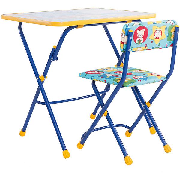 Набор мебели Первоклашка. Осень (синий)Детские столы и стулья<br>Симпатичный комфортный набор детской мебели Первоклашка. Осень, Ника, идеально подойдет для занятий, игр и творчества детей 3 -7 лет. В набор входят стол и стул с металлическим каркасом и мягким сиденьем. Пластиковая столешница оформлена красочными тематическими рисунками, которые познакомят ребенка с азбукой, цветами, цифрами и счетом. Обводя буквы фломастером прямо на столе он освоит написание алфавита. Мебель удобна и безопасна для ребенка, углы стола и стула мягко закруглены. Ножки снабжены наконечниками, предотвращающими скольжение. Стул и стол легко складываются и не занимают много места при хранении.<br><br>Дополнительная информация:<br><br>- Цвет: синий.<br>- В комплекте: складной стол, мягкий складной стул.<br>- Материал: пластик, металл.<br>- Размер стула: высота до сиденья - 32 см., высоты спинки стула - 56 см., размер сиденья - 30 х 27 см.<br>- Размер стола: 59,5 х 58 х 45,5 см.<br>- Размер упаковки: 75 х 60 х 15 см.<br>- Вес: 8,2 кг.<br><br>Набор детской мебели Первоклашка. Осень, синий, Ника, можно купить в нашем интернет-магазине.<br>Ширина мм: 750; Глубина мм: 160; Высота мм: 610; Вес г: 8200; Возраст от месяцев: 36; Возраст до месяцев: 96; Пол: Унисекс; Возраст: Детский; SKU: 4652031;