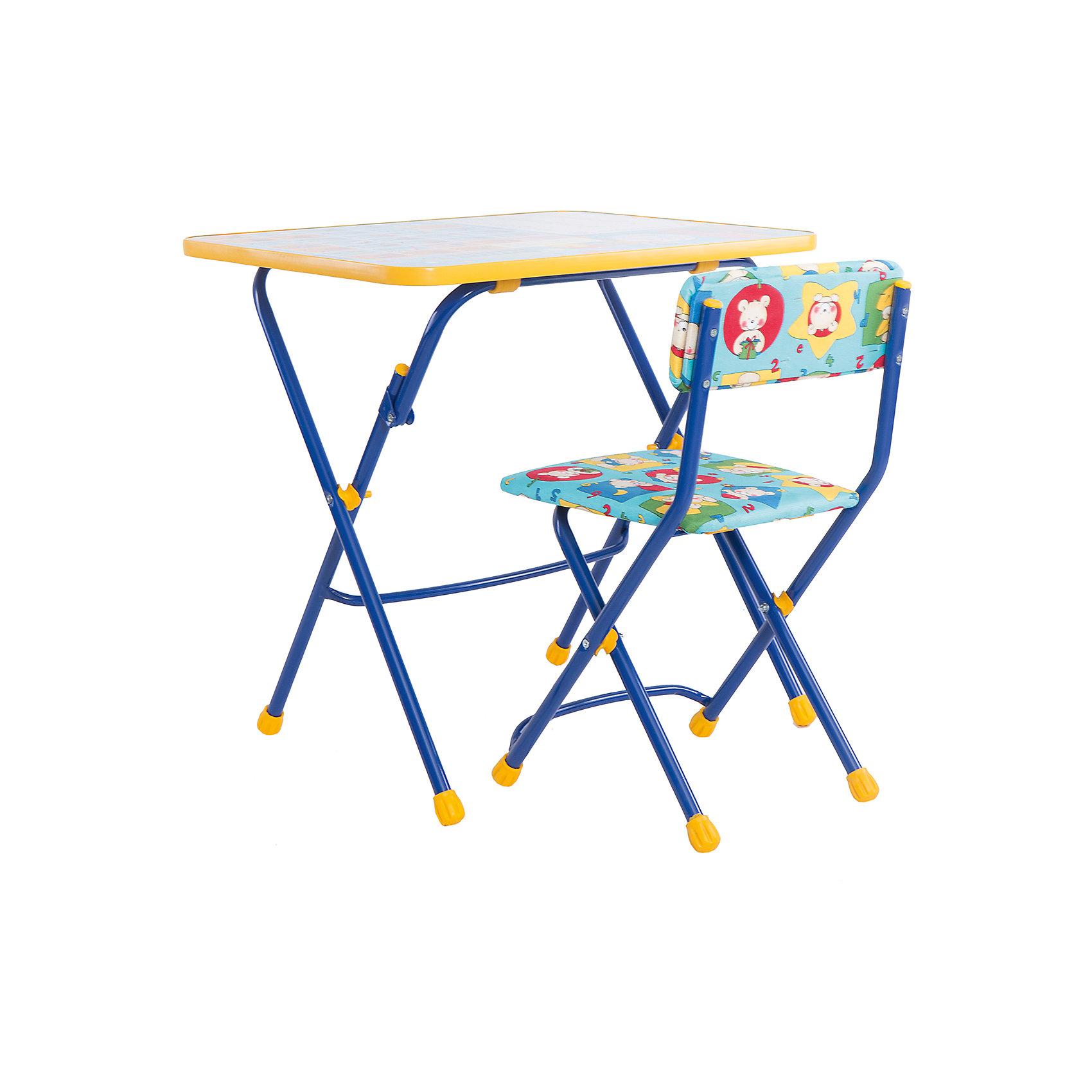 Набор мебели Первоклашка. Осень (синий)Столы и стулья<br>Симпатичный комфортный набор детской мебели Первоклашка. Осень, Ника, идеально подойдет для занятий, игр и творчества детей 3 -7 лет. В набор входят стол и стул с металлическим каркасом и мягким сиденьем. Пластиковая столешница оформлена красочными тематическими рисунками, которые познакомят ребенка с азбукой, цветами, цифрами и счетом. Обводя буквы фломастером прямо на столе он освоит написание алфавита. Мебель удобна и безопасна для ребенка, углы стола и стула мягко закруглены. Ножки снабжены наконечниками, предотвращающими скольжение. Стул и стол легко складываются и не занимают много места при хранении.<br><br>Дополнительная информация:<br><br>- Цвет: синий.<br>- В комплекте: складной стол, мягкий складной стул.<br>- Материал: пластик, металл.<br>- Размер стула: высота до сиденья - 32 см., высоты спинки стула - 56 см., размер сиденья - 30 х 27 см.<br>- Размер стола: 59,5 х 58 х 45,5 см.<br>- Размер упаковки: 75 х 60 х 15 см.<br>- Вес: 8,2 кг.<br><br>Набор детской мебели Первоклашка. Осень, синий, Ника, можно купить в нашем интернет-магазине.<br><br>Ширина мм: 750<br>Глубина мм: 160<br>Высота мм: 610<br>Вес г: 8200<br>Возраст от месяцев: 36<br>Возраст до месяцев: 96<br>Пол: Унисекс<br>Возраст: Детский<br>SKU: 4652031