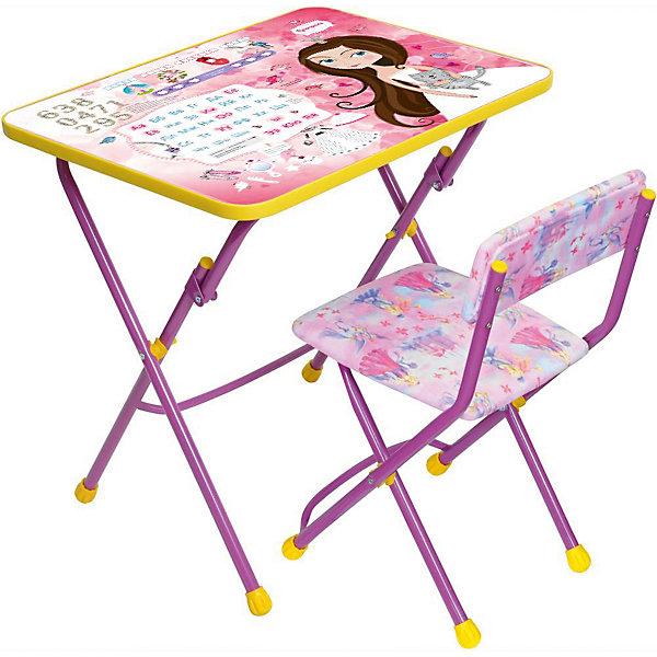 Набор мебели КУ1/17 Маленькая принцесса, НикаДетские столы и стулья<br>Симпатичный комфортный набор детской мебели Маленькая принцесса, давай дружить идеально подойдет для занятий, игр и творчества девочки 3 -7 лет. В набор входят стол и стул с металлическим каркасом и мягким сиденьем, выполненные в приятной розовой расцветке.<br>Пластиковая столешница облицована пленкой с красочными изображениями сказочных принцесс. Мебель удобна и безопасна для ребенка, углы стола и стула мягко закруглены. Ножки снабжены наконечниками, предотвращающими скольжение. Сиденье стульчика можно мыть. Стул и стол легко складываются и не занимают много места при хранении.<br><br>Дополнительная информация:<br><br>- Цвет: розовый.<br>- В комплекте: складной стол, пенал, мягкий складной стул.<br>- Материал: пластик, металл.<br>- Размер стула: высота до сиденья - 30 см., размер сиденья - 31 х 30 см.<br>- Размер стола: 60 х 45 х 58 см.<br>- Размер упаковки: 61 х 15 х 75 см.<br>- Вес: 8,2 кг.<br><br>Набор детской мебели Маленькая принцесса, давай дружить, розовый, Ника, можно купить в нашем интернет-магазине.<br><br>Ширина мм: 8200<br>Глубина мм: 8200<br>Высота мм: 60<br>Вес г: 8200<br>Возраст от месяцев: 36<br>Возраст до месяцев: 96<br>Пол: Женский<br>Возраст: Детский<br>SKU: 4652033