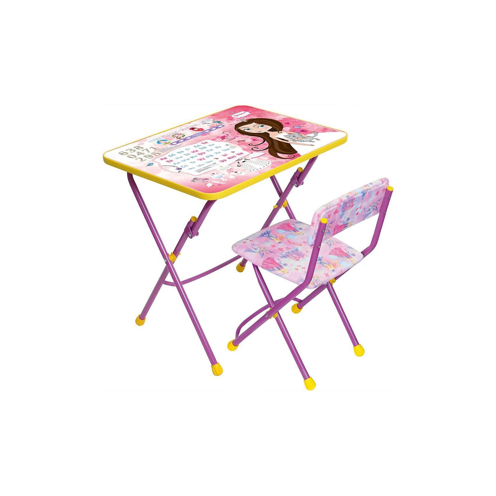 Набор мебели КУ1/17 Маленькая принцесса, НикаСимпатичный комфортный набор детской мебели Маленькая принцесса, давай дружить идеально подойдет для занятий, игр и творчества девочки 3 -7 лет. В набор входят стол и стул с металлическим каркасом и мягким сиденьем, выполненные в приятной розовой расцветке.<br>Пластиковая столешница облицована пленкой с красочными изображениями сказочных принцесс. Мебель удобна и безопасна для ребенка, углы стола и стула мягко закруглены. Ножки снабжены наконечниками, предотвращающими скольжение. Сиденье стульчика можно мыть. Стул и стол легко складываются и не занимают много места при хранении.<br><br>Дополнительная информация:<br><br>- Цвет: розовый.<br>- В комплекте: складной стол, пенал, мягкий складной стул.<br>- Материал: пластик, металл.<br>- Размер стула: высота до сиденья - 30 см., размер сиденья - 31 х 30 см.<br>- Размер стола: 60 х 45 х 58 см.<br>- Размер упаковки: 61 х 15 х 75 см.<br>- Вес: 8,2 кг.<br><br>Набор детской мебели Маленькая принцесса, давай дружить, розовый, Ника, можно купить в нашем интернет-магазине.<br><br>Ширина мм: 8200<br>Глубина мм: 8200<br>Высота мм: 60<br>Вес г: 8200<br>Возраст от месяцев: 36<br>Возраст до месяцев: 96<br>Пол: Женский<br>Возраст: Детский<br>SKU: 4652033