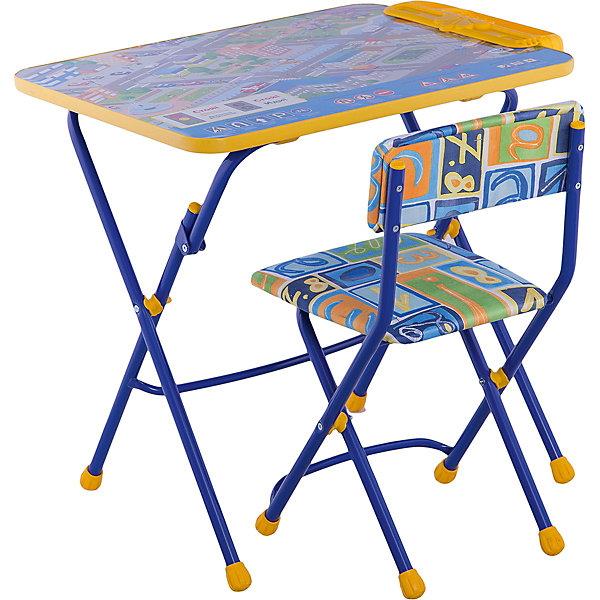 Набор мебели Правила дорожного движенияДетские столы и стулья<br>Симпатичный комфортный набор детской мебели Правила дорожного движения идеально подойдет для занятий, игр и творчества детей 3 -7 лет. В набор входят стол и стул с металлическим каркасом и мягким сиденьем. Пластиковая столешница оформлена красочными тематическими рисунками, которые познакомят ребенка с правилами дорожного движения, светофором, разметкой и дорожными знаками. На край стола крепится пенал для хранения письменных принадлежностей. Мебель удобна и безопасна для ребенка, углы стола и стула мягко закруглены. Ножки снабжены наконечниками, предотвращающими скольжение. Стул и стол легко складываются и не занимают много места при хранении.<br><br>Дополнительная информация:<br><br>- В комплекте: складной стол, мягкий складной стул.<br>- Материал: пластик, металл.<br>- Размер стула: высота до сиденья - 34 см., высота со спинкой - 59 см., размер сиденья - 30 х 30 см.<br>- Размер стола: 60 х 58 х 45 см.<br>- Размер упаковки: 75 х 60 х 15 см.<br>- Вес: 8,2 кг.<br><br>Комплект Правила дорожного движения, Ника, можно купить в нашем интернет-магазине.<br>Ширина мм: 8200; Глубина мм: 8200; Высота мм: 60; Вес г: 8200; Возраст от месяцев: 36; Возраст до месяцев: 96; Пол: Унисекс; Возраст: Детский; SKU: 4652037;