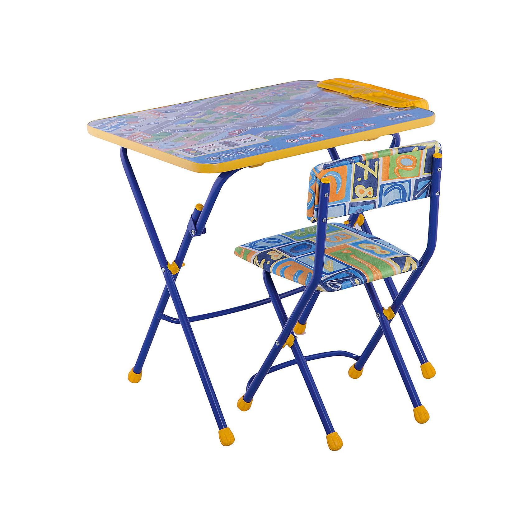 Набор мебели Правила дорожного движенияСтолы и стулья<br>Симпатичный комфортный набор детской мебели Правила дорожного движения идеально подойдет для занятий, игр и творчества детей 3 -7 лет. В набор входят стол и стул с металлическим каркасом и мягким сиденьем. Пластиковая столешница оформлена красочными тематическими рисунками, которые познакомят ребенка с правилами дорожного движения, светофором, разметкой и дорожными знаками. На край стола крепится пенал для хранения письменных принадлежностей. Мебель удобна и безопасна для ребенка, углы стола и стула мягко закруглены. Ножки снабжены наконечниками, предотвращающими скольжение. Стул и стол легко складываются и не занимают много места при хранении.<br><br>Дополнительная информация:<br><br>- В комплекте: складной стол, мягкий складной стул.<br>- Материал: пластик, металл.<br>- Размер стула: высота до сиденья - 34 см., высота со спинкой - 59 см., размер сиденья - 30 х 30 см.<br>- Размер стола: 60 х 58 х 45 см.<br>- Размер упаковки: 75 х 60 х 15 см.<br>- Вес: 8,2 кг.<br><br>Комплект Правила дорожного движения, Ника, можно купить в нашем интернет-магазине.<br><br>Ширина мм: 8200<br>Глубина мм: 8200<br>Высота мм: 60<br>Вес г: 8200<br>Возраст от месяцев: 36<br>Возраст до месяцев: 96<br>Пол: Унисекс<br>Возраст: Детский<br>SKU: 4652037