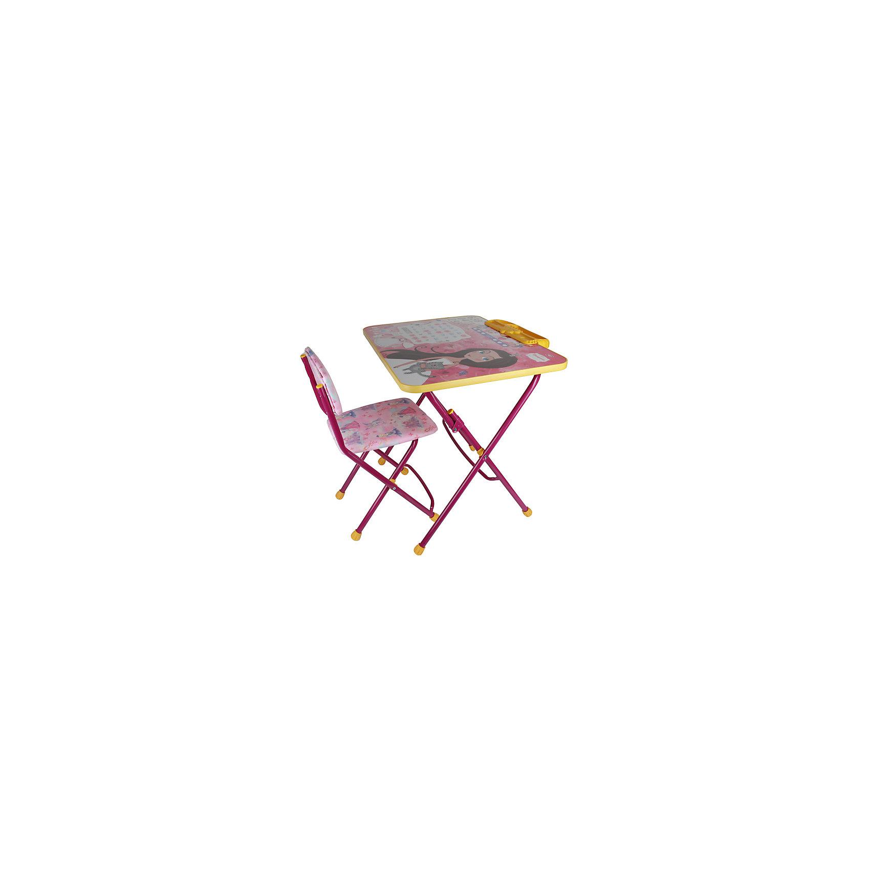 Набор мебели Маленькая ПринцессаПринцессы Дисней<br>Симпатичный комфортный набор детской мебели Маленькая принцесса идеально подойдет для занятий, игр и творчества девочки 3 -7 лет. В набор входят стол и стул с металлическим каркасом и мягким сиденьем, выполненные в приятной розовой расцветке. Пластиковая столешница облицована пленкой, на которой изображены буквы русского алфавита, цифры и фигурка сказочной принцессы. Мебель удобна и безопасна для ребенка, углы стола и стула мягко закруглены. Ножки снабжены наконечниками, предотвращающими скольжение. Сиденье стульчика можно мыть. Стул и стол легко складываются и не занимают много места при хранении.<br><br>Дополнительная информация:<br><br>- В комплекте: складной стол, пенал, мягкий складной стул.<br>- Материал: пластик, металл.<br>- Размер стула: высота до сиденья - 32 см., высота со спинкой - 56 см., размер сиденья - 30 х 27 см.<br>- Размер стола: 58 х 45 х 57 см.<br>- Размер упаковки: 75 х 60 х 15 см.<br>- Вес: 8,2 кг.<br><br>Комплект Маленькая принцесса, Ника, можно купить в нашем интернет-магазине.<br><br>Ширина мм: 8200<br>Глубина мм: 8200<br>Высота мм: 60<br>Вес г: 8200<br>Возраст от месяцев: 36<br>Возраст до месяцев: 96<br>Пол: Женский<br>Возраст: Детский<br>SKU: 4652039