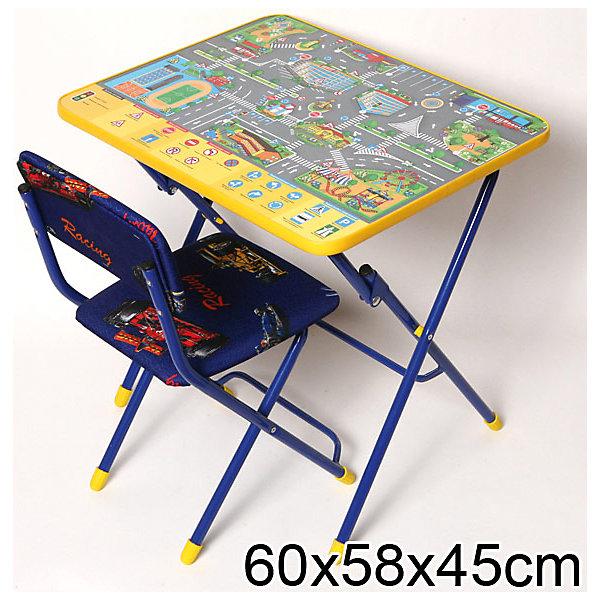 Набор мебели Правила дорожного движения (синий)Детские столы и стулья<br>Симпатичный комфортный набор детской мебели Правила дорожного движения идеально подойдет для занятий, игр и творчества детей 3 -7 лет. В набор входят стол и стул с металлическим каркасом и мягким сиденьем. Пластиковая столешница оформлена красочными тематическими рисунками, которые познакомят ребенка с правилами дорожного движения, светофором, разметкой и дорожными знаками. На поверхности стола можно рисовать маркером на водной основе. Мебель удобна и безопасна для ребенка, углы стола и стула мягко закруглены. Ножки снабжены наконечниками, предотвращающими скольжение. Стул и стол легко складываются и не занимают много места при хранении.<br><br>Дополнительная информация:<br><br>- В комплекте: складной стол, мягкий складной стул.<br>- Материал: пластик, металл.<br>- Размер стула: высота до сиденья - 32 см., высота со спинкой - 57 см., размер сиденья - 31 х 27 см.<br>- Размер стола: 60 х 58 х 45 см.<br>- Размер упаковки: 75 х 60 х 15 см.<br>- Вес: 8,2 кг.<br><br>Набор детской мебели Правила дорожного движения, Ника, можно купить в нашем интернет-магазине.<br>Ширина мм: 750; Глубина мм: 160; Высота мм: 610; Вес г: 8200; Возраст от месяцев: 36; Возраст до месяцев: 96; Пол: Унисекс; Возраст: Детский; SKU: 4652052;