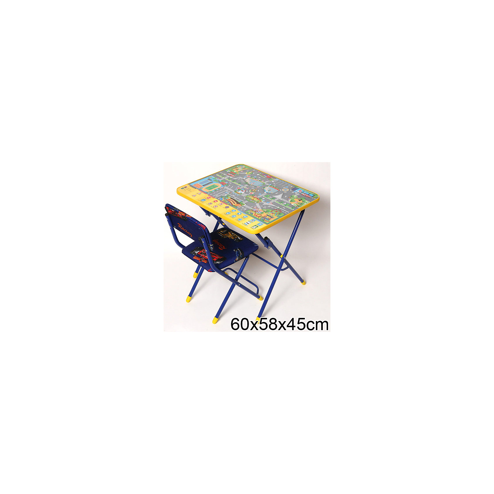 Набор мебели Правила дорожного движения (синий)Мебель<br>Симпатичный комфортный набор детской мебели Правила дорожного движения идеально подойдет для занятий, игр и творчества детей 3 -7 лет. В набор входят стол и стул с металлическим каркасом и мягким сиденьем. Пластиковая столешница оформлена красочными тематическими рисунками, которые познакомят ребенка с правилами дорожного движения, светофором, разметкой и дорожными знаками. На поверхности стола можно рисовать маркером на водной основе. Мебель удобна и безопасна для ребенка, углы стола и стула мягко закруглены. Ножки снабжены наконечниками, предотвращающими скольжение. Стул и стол легко складываются и не занимают много места при хранении.<br><br>Дополнительная информация:<br><br>- В комплекте: складной стол, мягкий складной стул.<br>- Материал: пластик, металл.<br>- Размер стула: высота до сиденья - 32 см., высота со спинкой - 57 см., размер сиденья - 31 х 27 см.<br>- Размер стола: 60 х 58 х 45 см.<br>- Размер упаковки: 75 х 60 х 15 см.<br>- Вес: 8,2 кг.<br><br>Набор детской мебели Правила дорожного движения, Ника, можно купить в нашем интернет-магазине.<br><br>Ширина мм: 750<br>Глубина мм: 160<br>Высота мм: 610<br>Вес г: 8200<br>Возраст от месяцев: 36<br>Возраст до месяцев: 96<br>Пол: Унисекс<br>Возраст: Детский<br>SKU: 4652052