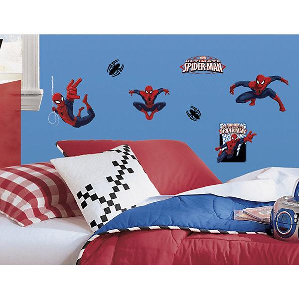 Наклейки для декора Человек-паукДетские предметы интерьера<br>Наклейки для декора Человек-паук, RoomMates, замечательно подойдут для украшения Вашего интерьера, детской комнаты, спальни или мебели. В комплект входят наклейки с изображениями персонажей фильмов и комиксов о популярном супергерое Человеке-пауке (всего в наборе 22 наклейки). Наклейки просты в применении и подходят для многоразового использования. Освободите выбранный рисунок от защитного слоя и приклейте на стену или любую другую плоскую гладкую поверхность. Стикеры легко отклеиваются и не оставляют липких следов на поверхности. Яркие наклейки с любимыми героями будут радовать Вашего ребенка и создавать атмосферу домашнего уюта.<br><br>Дополнительная информация:<br><br>- В комплекте: 4 листа наклеек (всего 22 наклейки).<br>- Материал: винил.<br>- Размер упаковки: 29,21 х 12,7 х 2,54 см. <br>- Вес: 141 гр. <br><br>Наклейки для декора Человек-паук, RoomMates, можно купить в нашем интернет-магазине.<br>Ширина мм: 300; Глубина мм: 130; Высота мм: 25; Вес г: 141; Возраст от месяцев: 36; Возраст до месяцев: 144; Пол: Мужской; Возраст: Детский; SKU: 4652186;